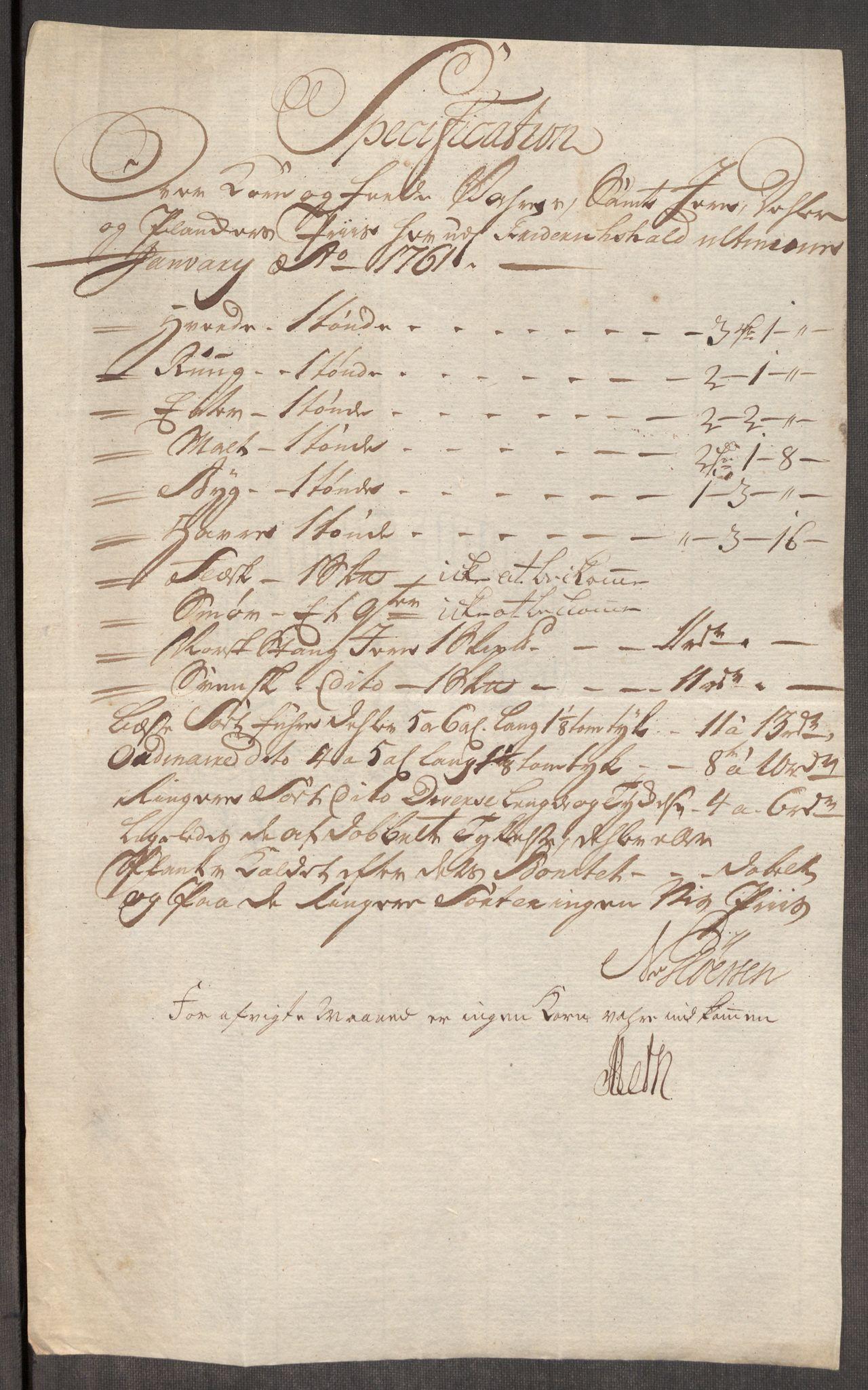 RA, Rentekammeret inntil 1814, Realistisk ordnet avdeling, Oe/L0007: [Ø1]: Priskuranter, 1761-1763, s. 5