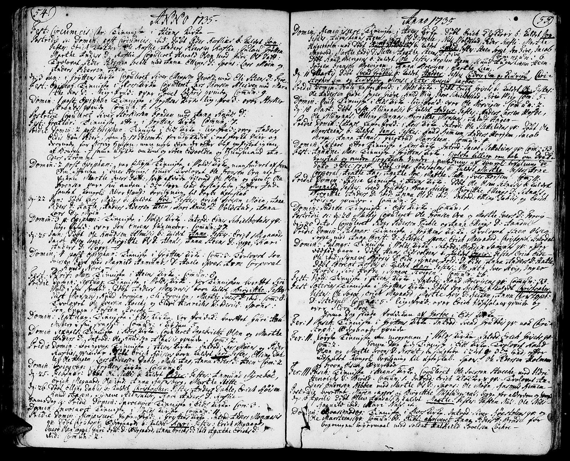 SAT, Ministerialprotokoller, klokkerbøker og fødselsregistre - Møre og Romsdal, 544/L0568: Ministerialbok nr. 544A01, 1725-1763, s. 54-55