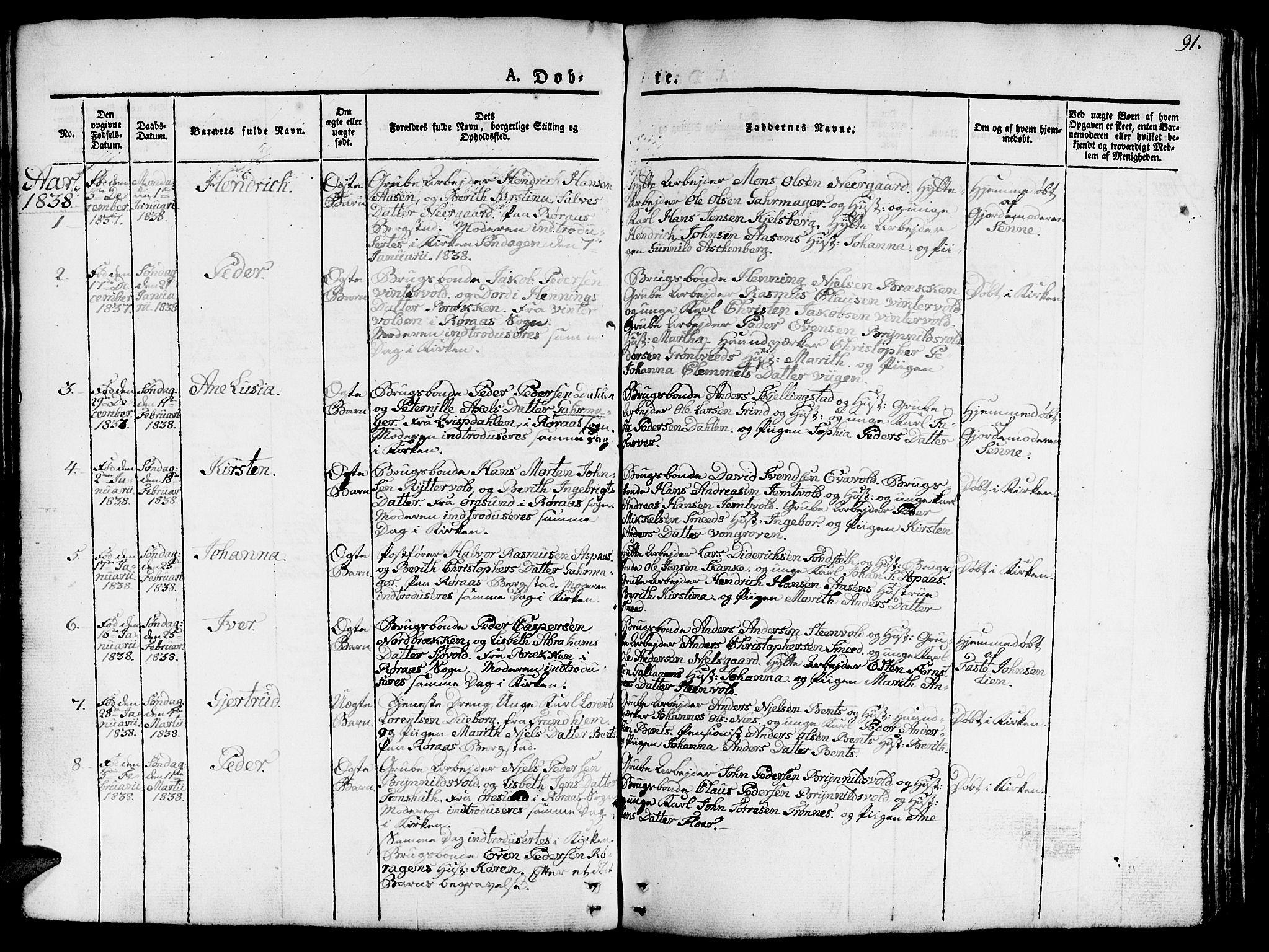 SAT, Ministerialprotokoller, klokkerbøker og fødselsregistre - Sør-Trøndelag, 681/L0938: Klokkerbok nr. 681C02, 1829-1879, s. 91