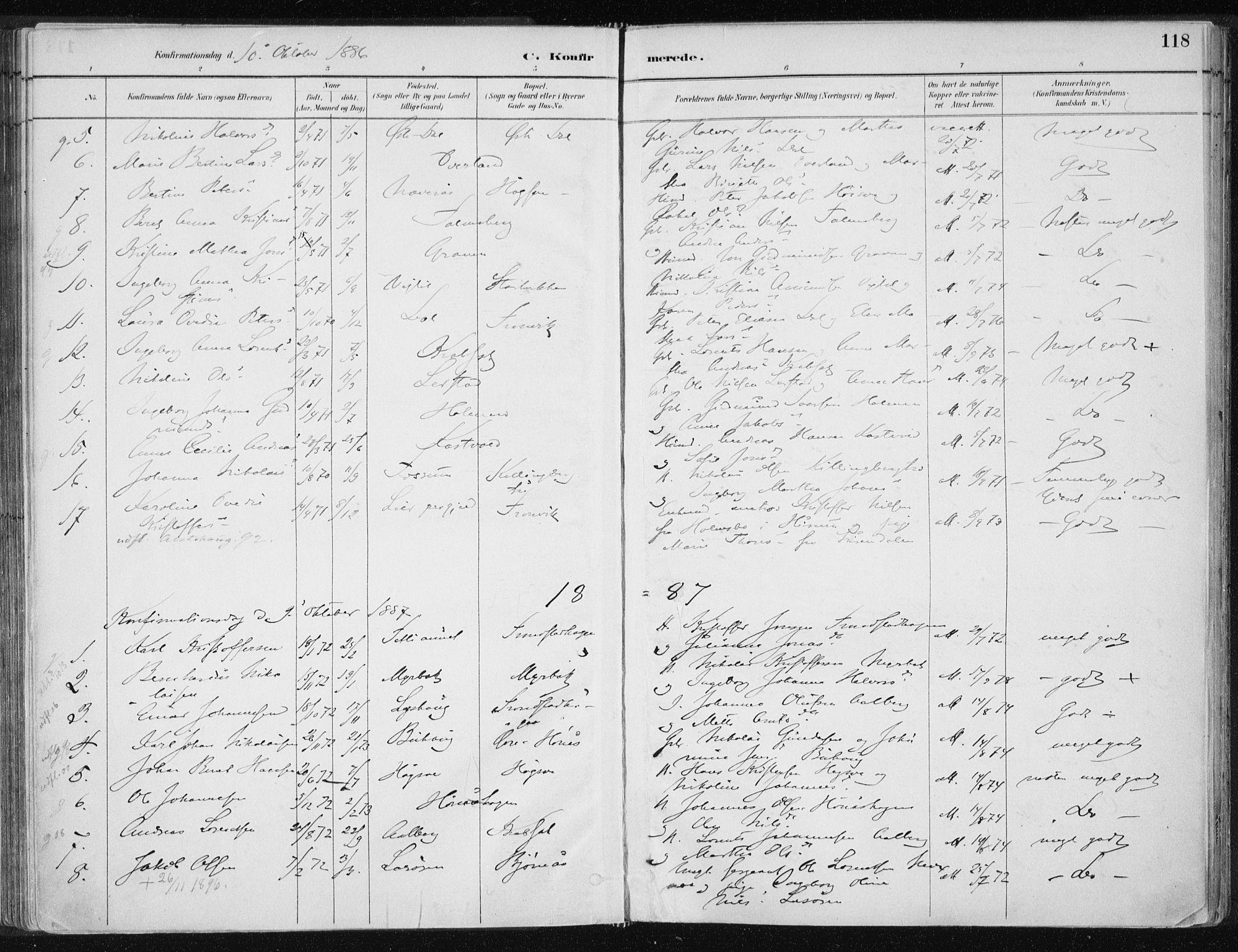 SAT, Ministerialprotokoller, klokkerbøker og fødselsregistre - Nord-Trøndelag, 701/L0010: Ministerialbok nr. 701A10, 1883-1899, s. 118