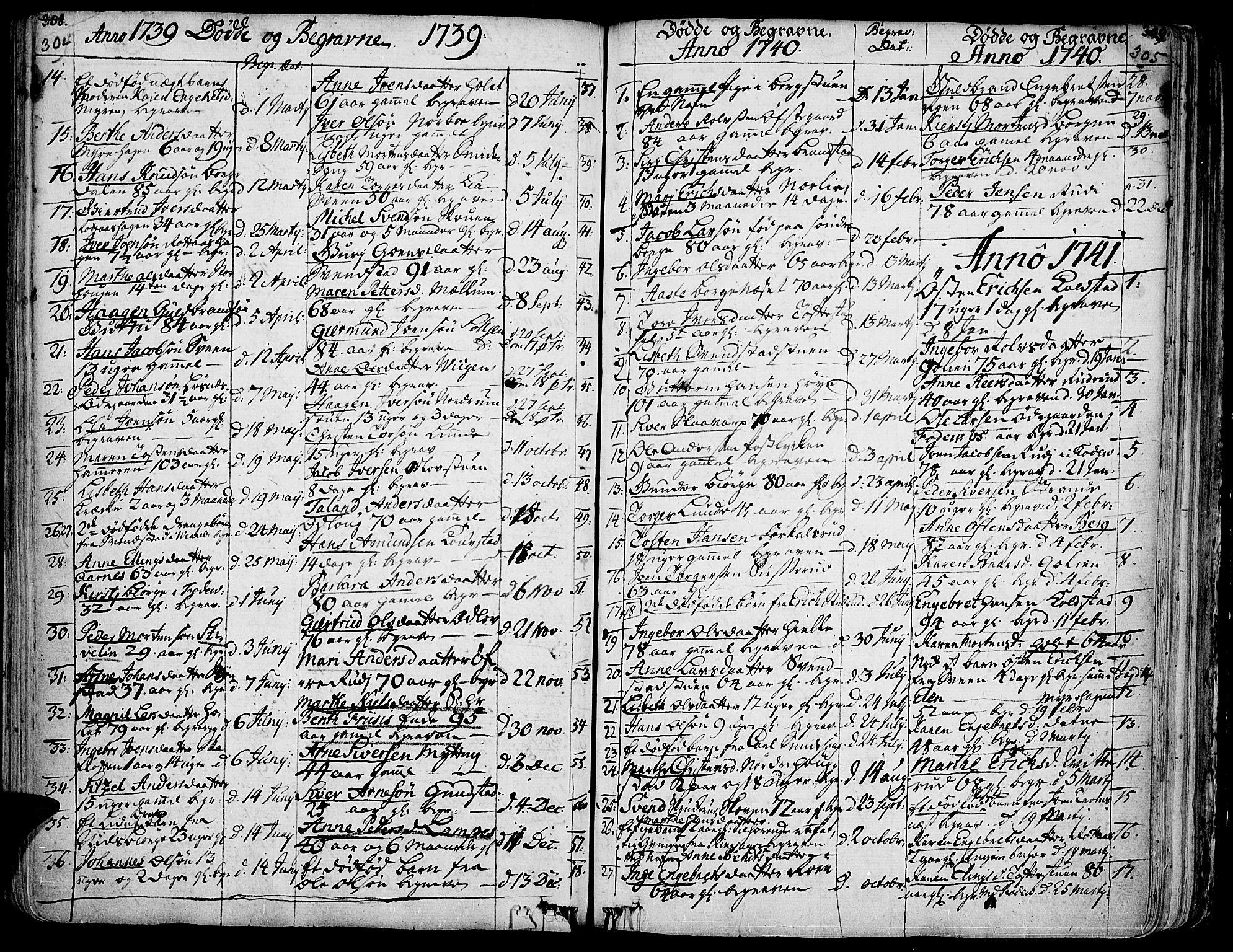 SAH, Ringebu prestekontor, Ministerialbok nr. 2, 1734-1780, s. 304-305