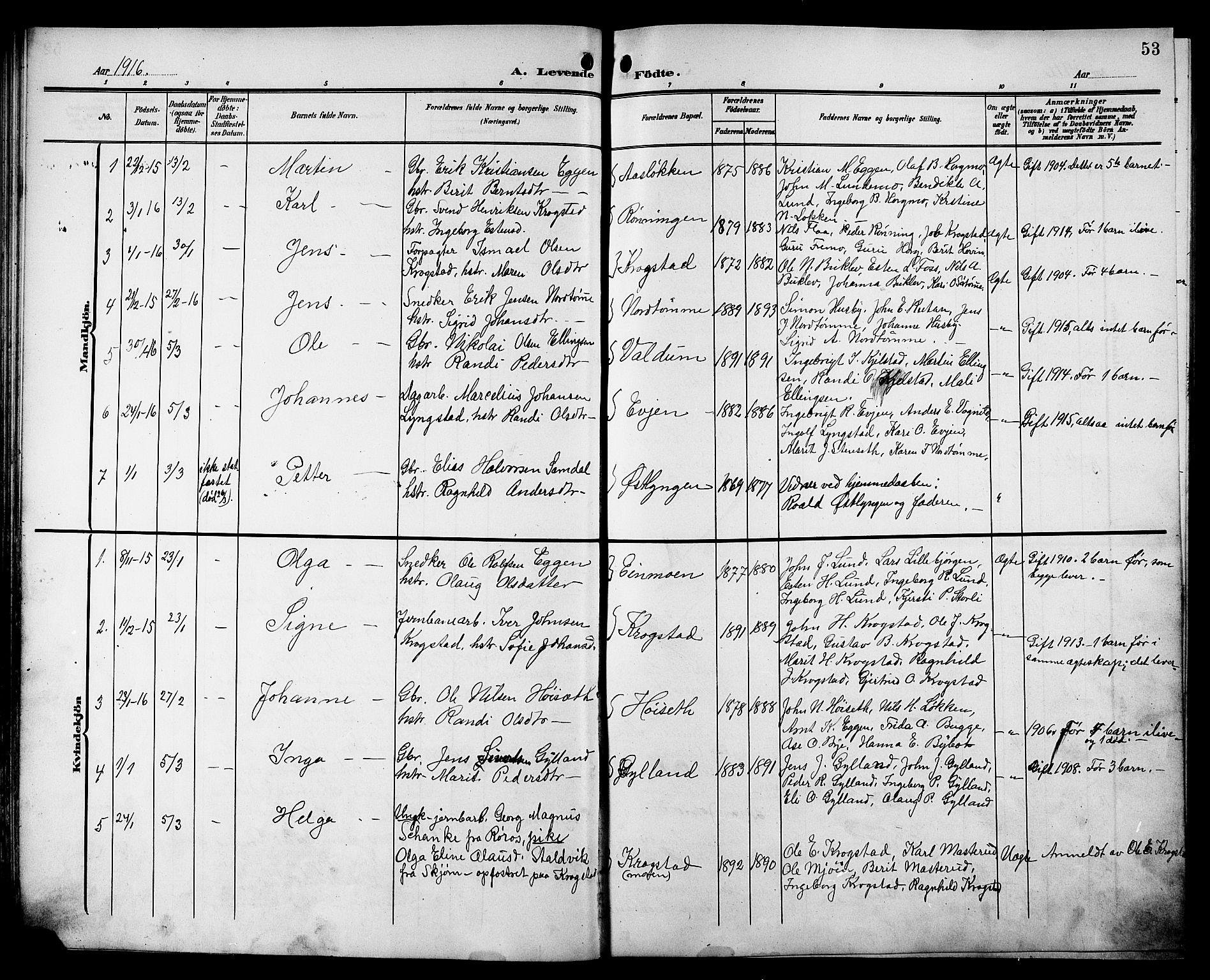 SAT, Ministerialprotokoller, klokkerbøker og fødselsregistre - Sør-Trøndelag, 692/L1112: Klokkerbok nr. 692C07, 1904-1918, s. 53