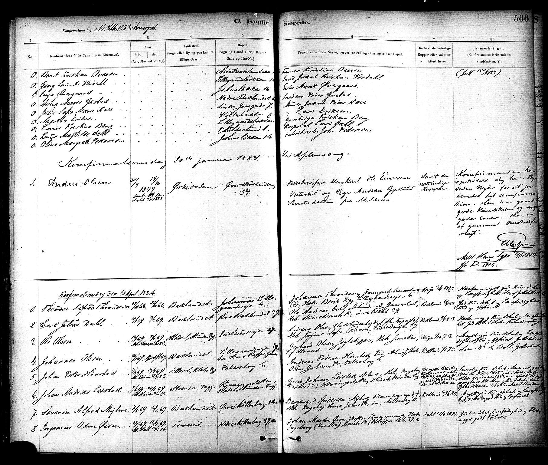 SAT, Ministerialprotokoller, klokkerbøker og fødselsregistre - Sør-Trøndelag, 604/L0188: Ministerialbok nr. 604A09, 1878-1892, s. 566