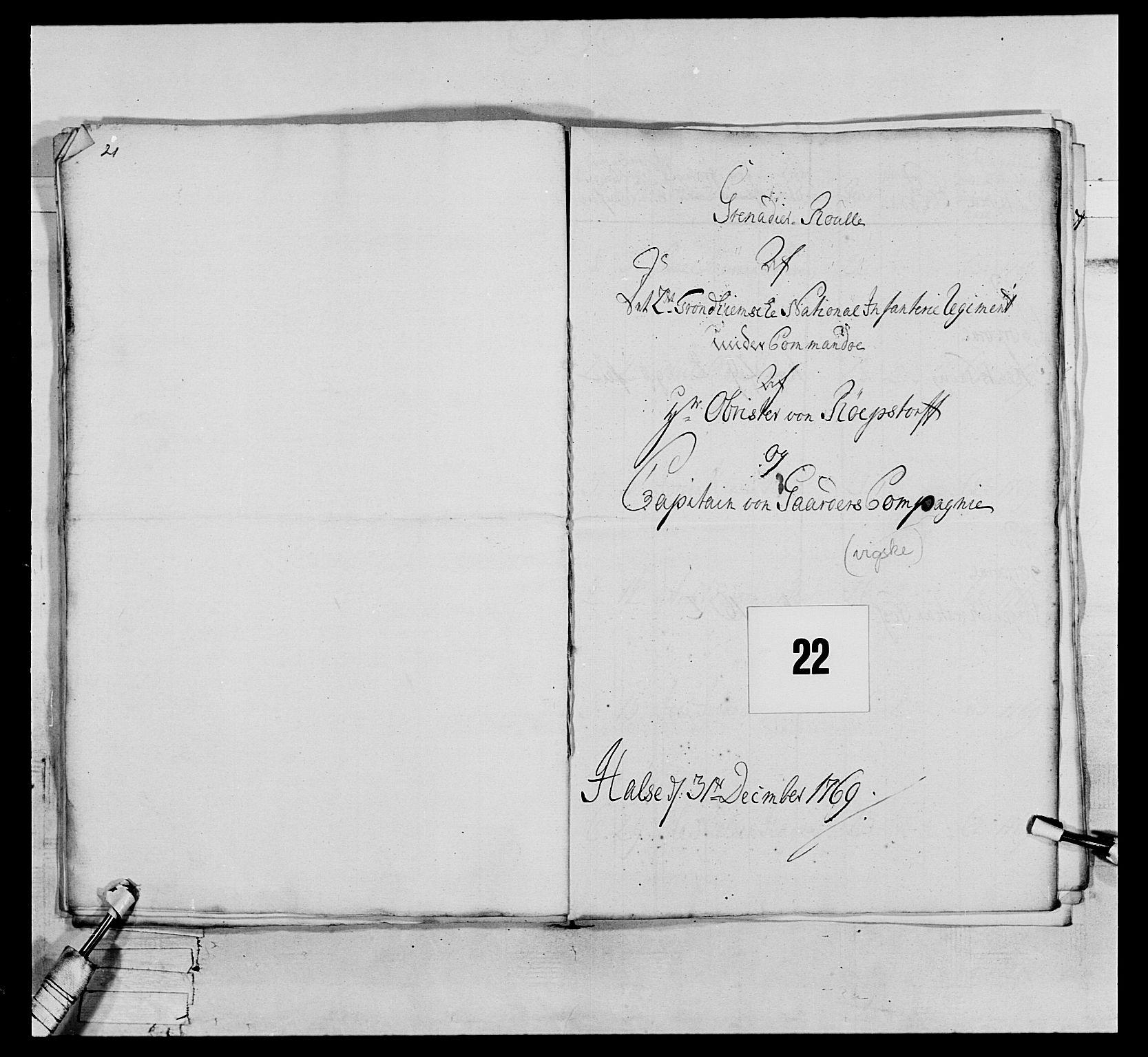 RA, Generalitets- og kommissariatskollegiet, Det kongelige norske kommissariatskollegium, E/Eh/L0076: 2. Trondheimske nasjonale infanteriregiment, 1766-1773, s. 51