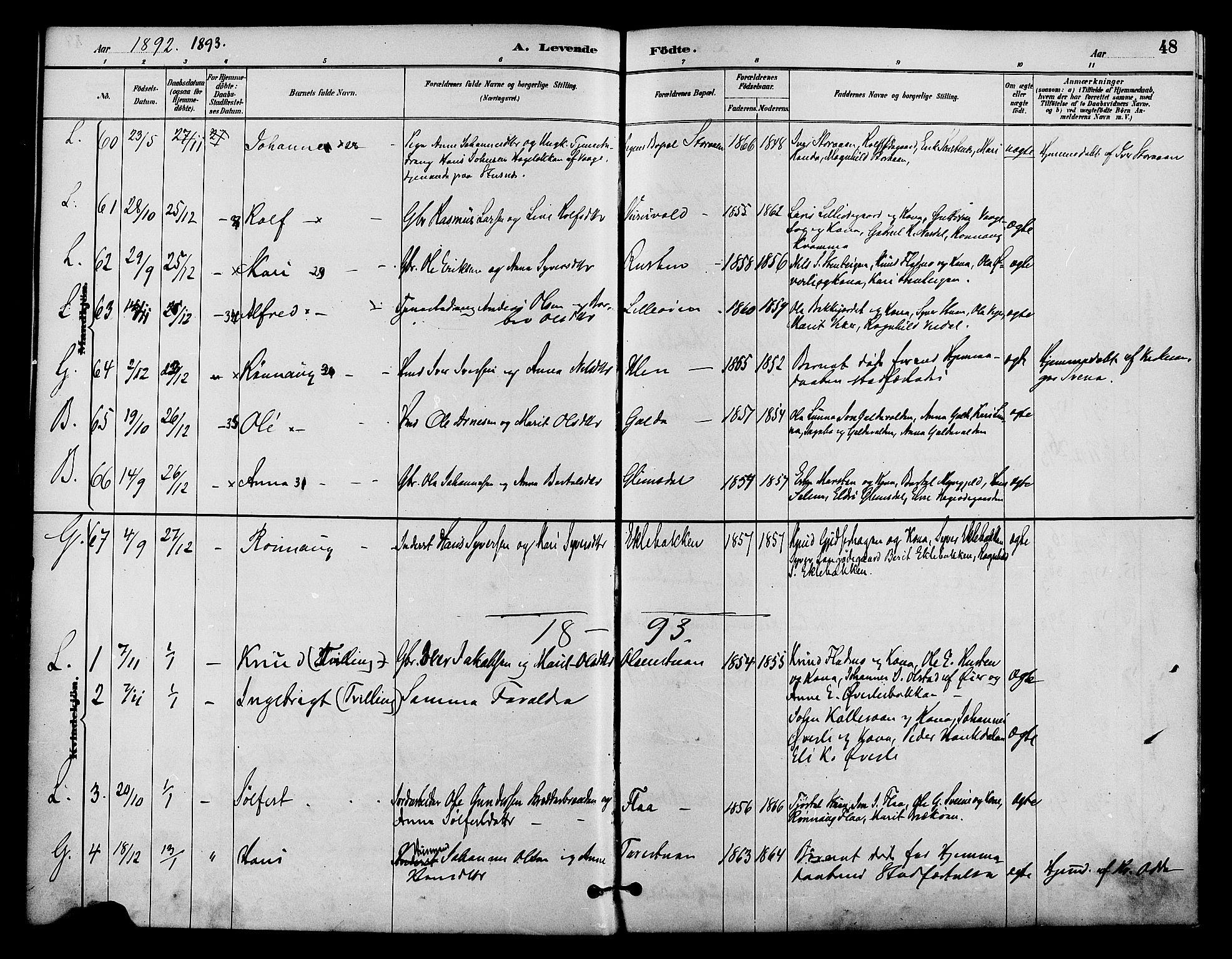 SAH, Lom prestekontor, K/L0008: Ministerialbok nr. 8, 1885-1898, s. 48