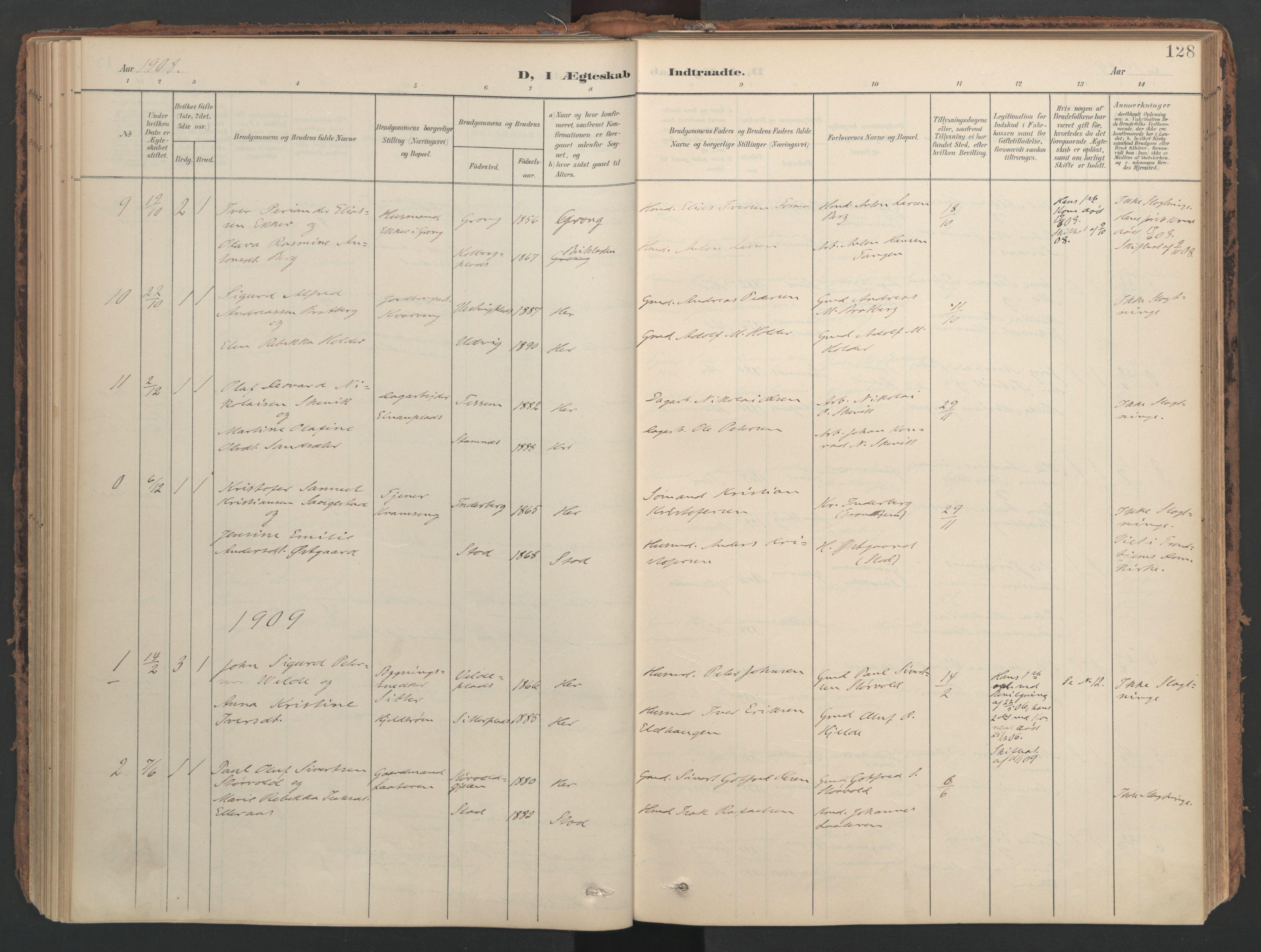 SAT, Ministerialprotokoller, klokkerbøker og fødselsregistre - Nord-Trøndelag, 741/L0397: Ministerialbok nr. 741A11, 1901-1911, s. 128
