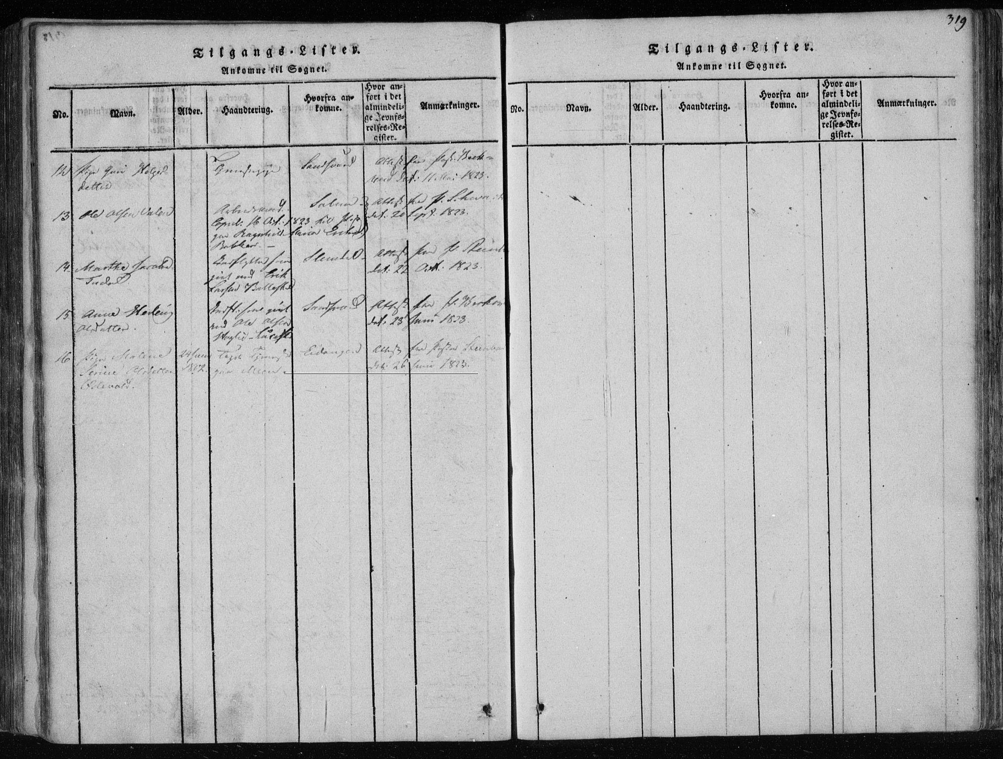 SAKO, Gjerpen kirkebøker, F/Fa/L0004: Ministerialbok nr. 4, 1814-1823, s. 319