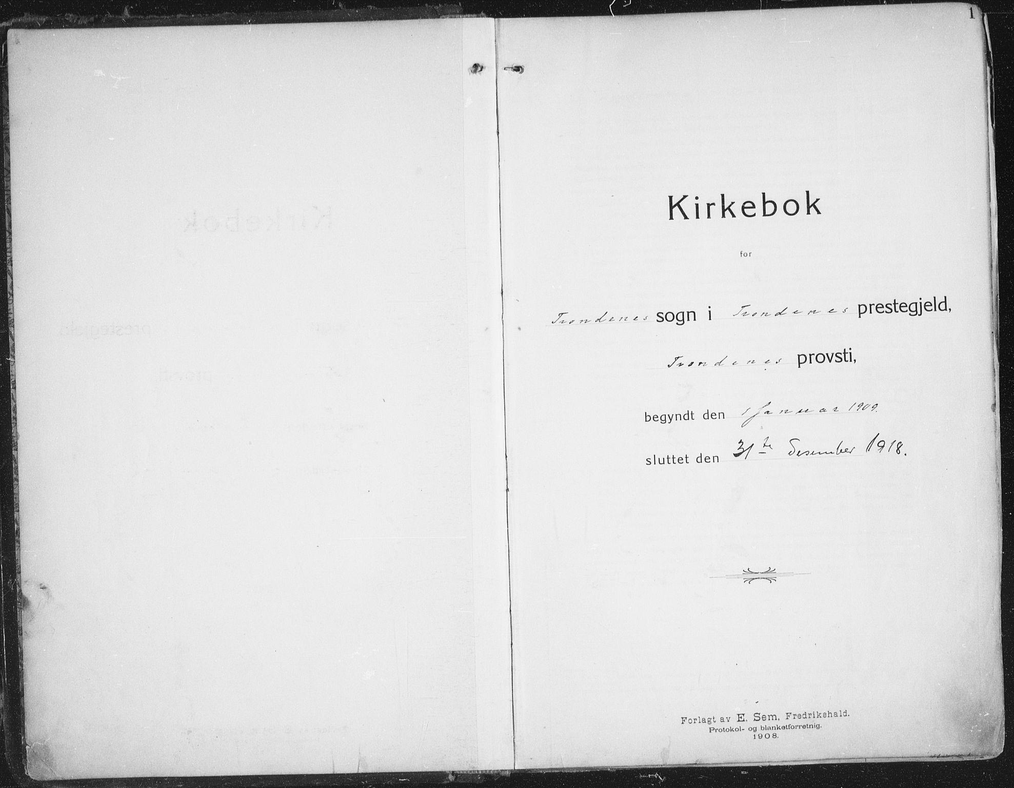 SATØ, Trondenes sokneprestkontor, H/Ha/L0018kirke: Ministerialbok nr. 18, 1909-1918, s. 1