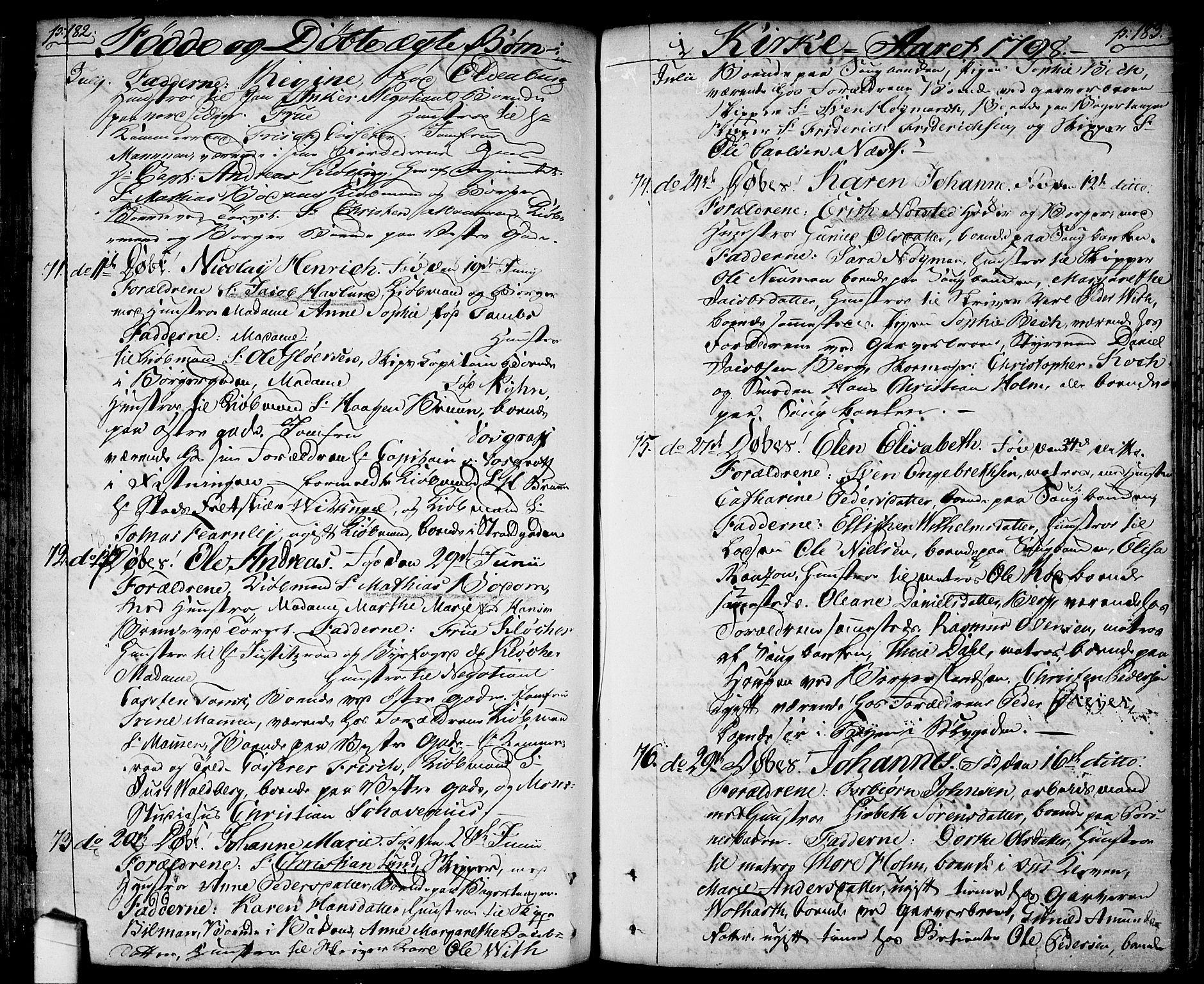 SAO, Halden prestekontor Kirkebøker, F/Fa/L0002: Ministerialbok nr. I 2, 1792-1812, s. 182-183