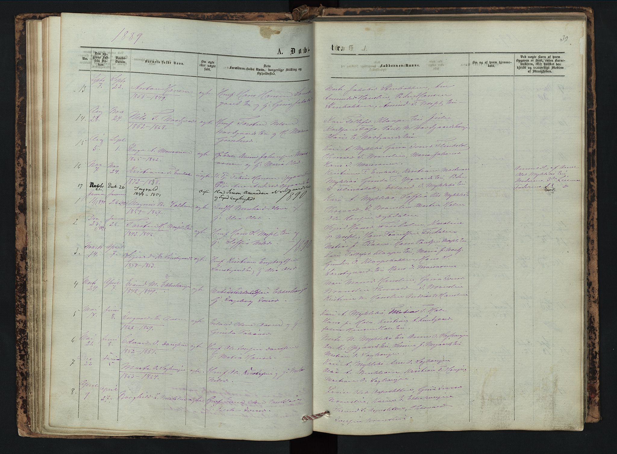 SAH, Vestre Gausdal prestekontor, Klokkerbok nr. 2, 1874-1897, s. 39