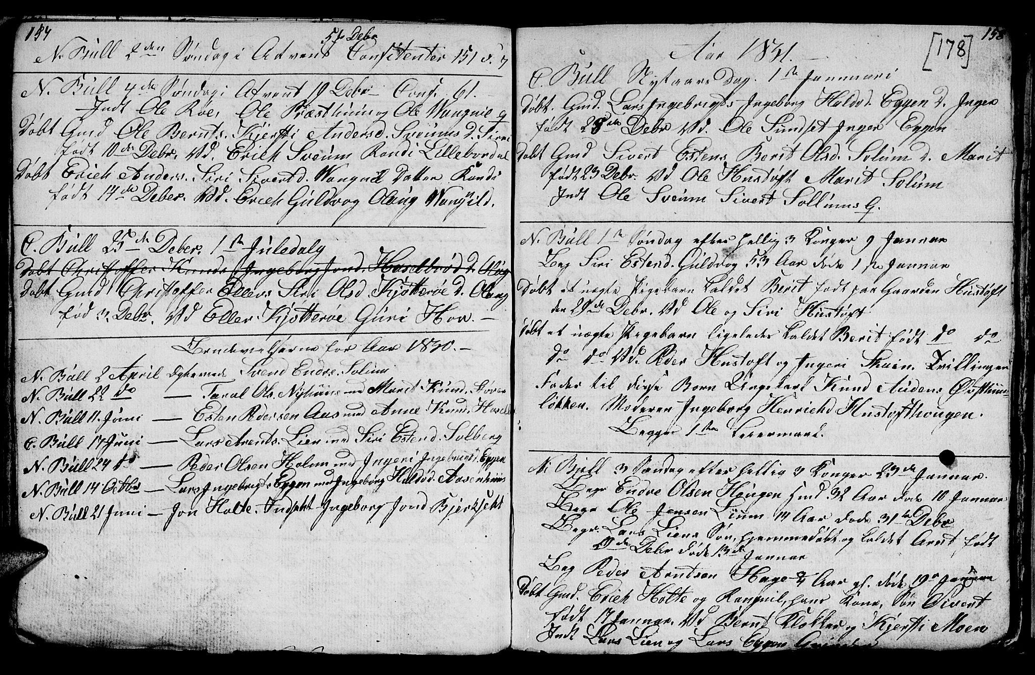 SAT, Ministerialprotokoller, klokkerbøker og fødselsregistre - Sør-Trøndelag, 689/L1042: Klokkerbok nr. 689C01, 1812-1841, s. 177-178