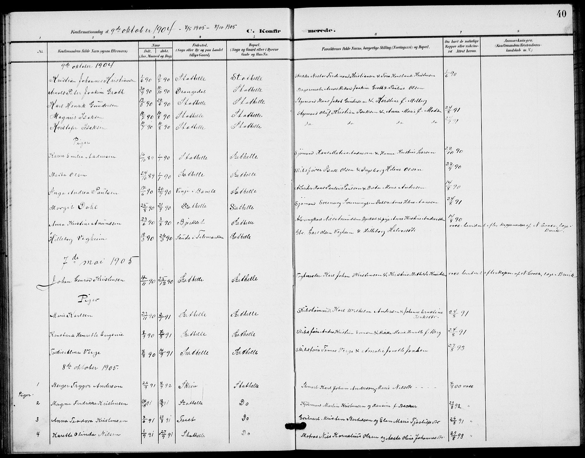 SAKO, Bamble kirkebøker, G/Gb/L0002: Klokkerbok nr. II 2, 1900-1925, s. 40