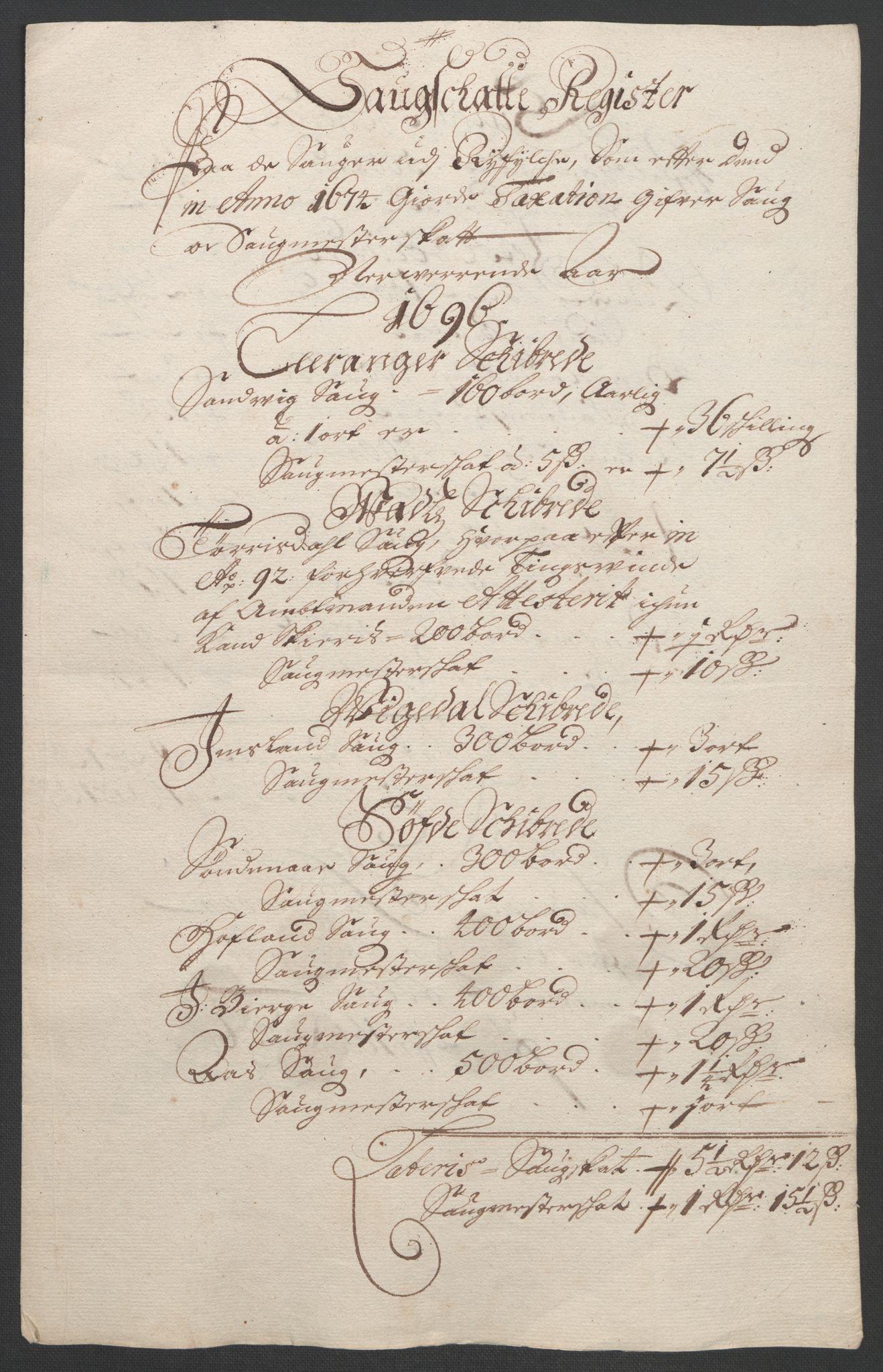 RA, Rentekammeret inntil 1814, Reviderte regnskaper, Fogderegnskap, R47/L2857: Fogderegnskap Ryfylke, 1694-1696, s. 266