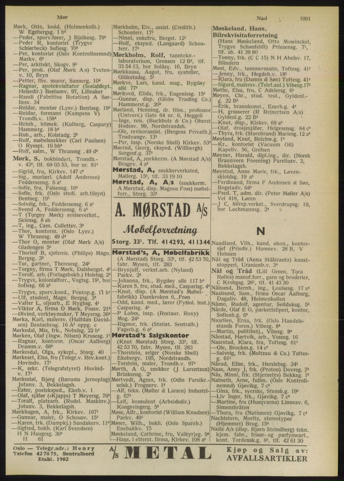 RA, Oslo adressebok (publikasjon)*, 1949, s. 1001