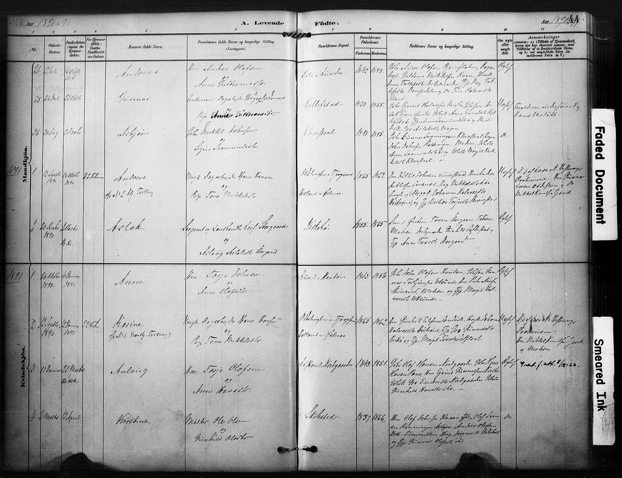 SAKO, Kviteseid kirkebøker, F/Fa/L0008: Ministerialbok nr. I 8, 1882-1903, s. 44
