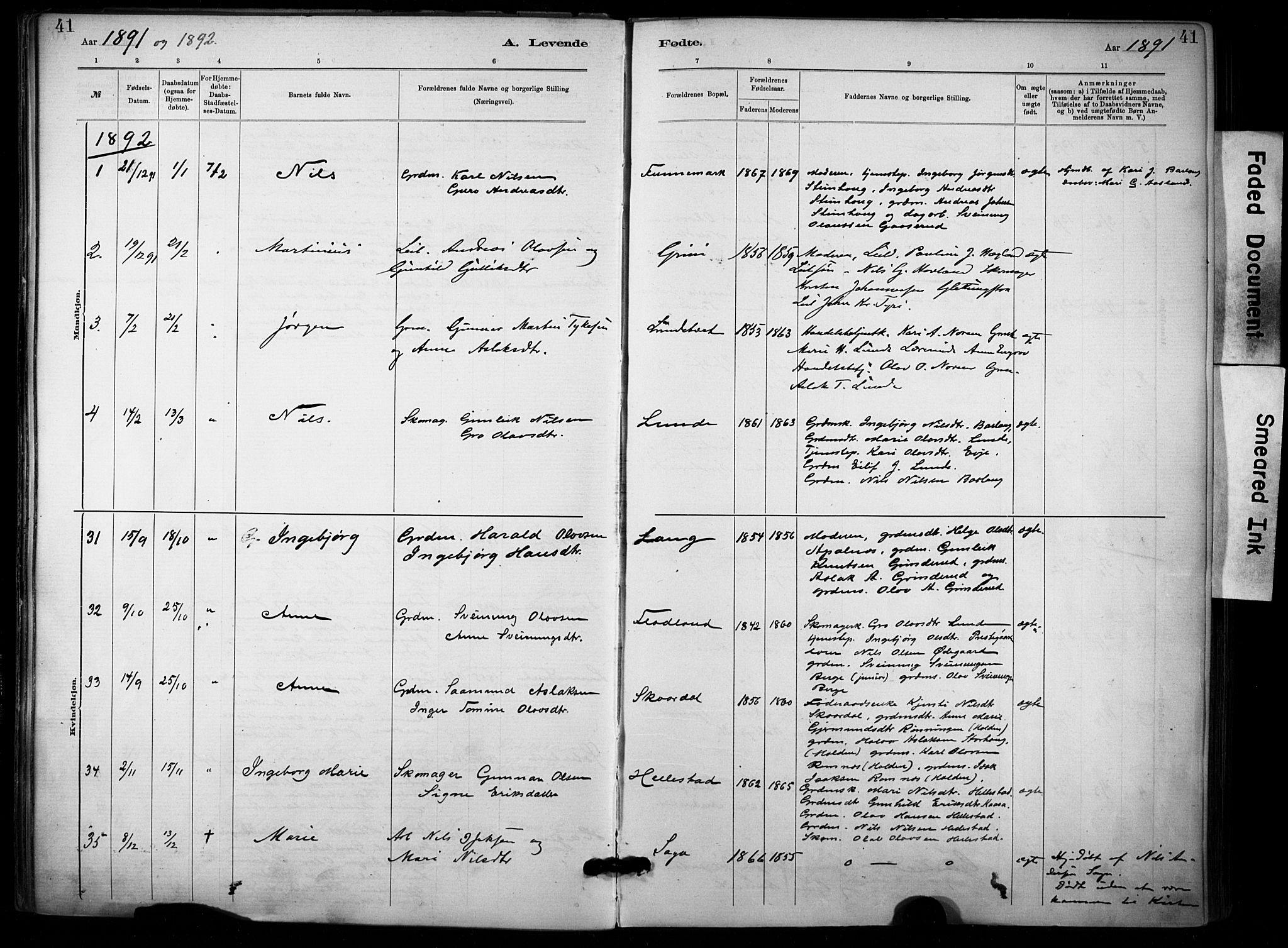 SAKO, Lunde kirkebøker, F/Fa/L0002: Ministerialbok nr. I 2, 1884-1892, s. 41