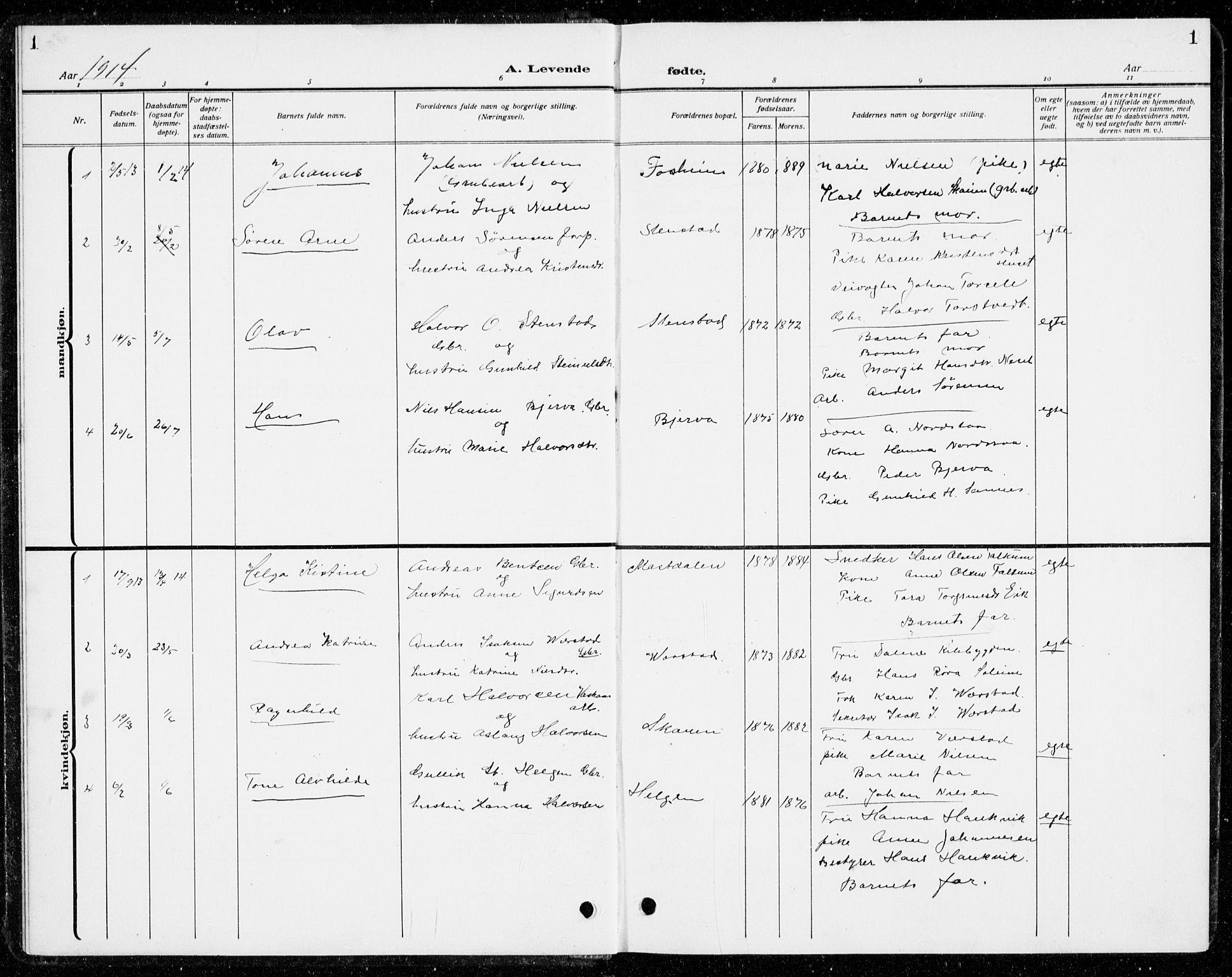 SAKO, Holla kirkebøker, G/Gb/L0003: Klokkerbok nr. II 3, 1914-1941, s. 1