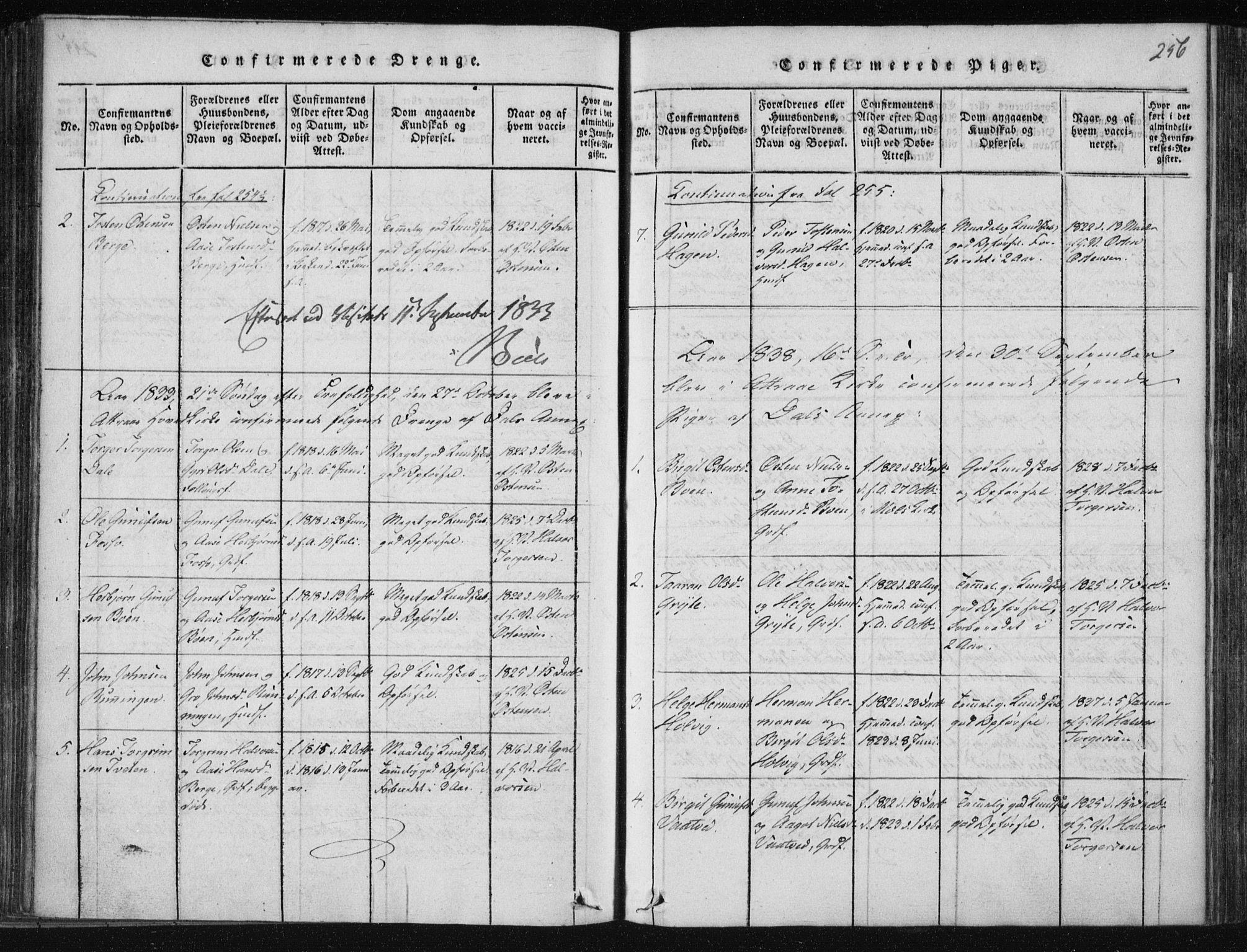 SAKO, Tinn kirkebøker, F/Fc/L0001: Ministerialbok nr. III 1, 1815-1843, s. 256