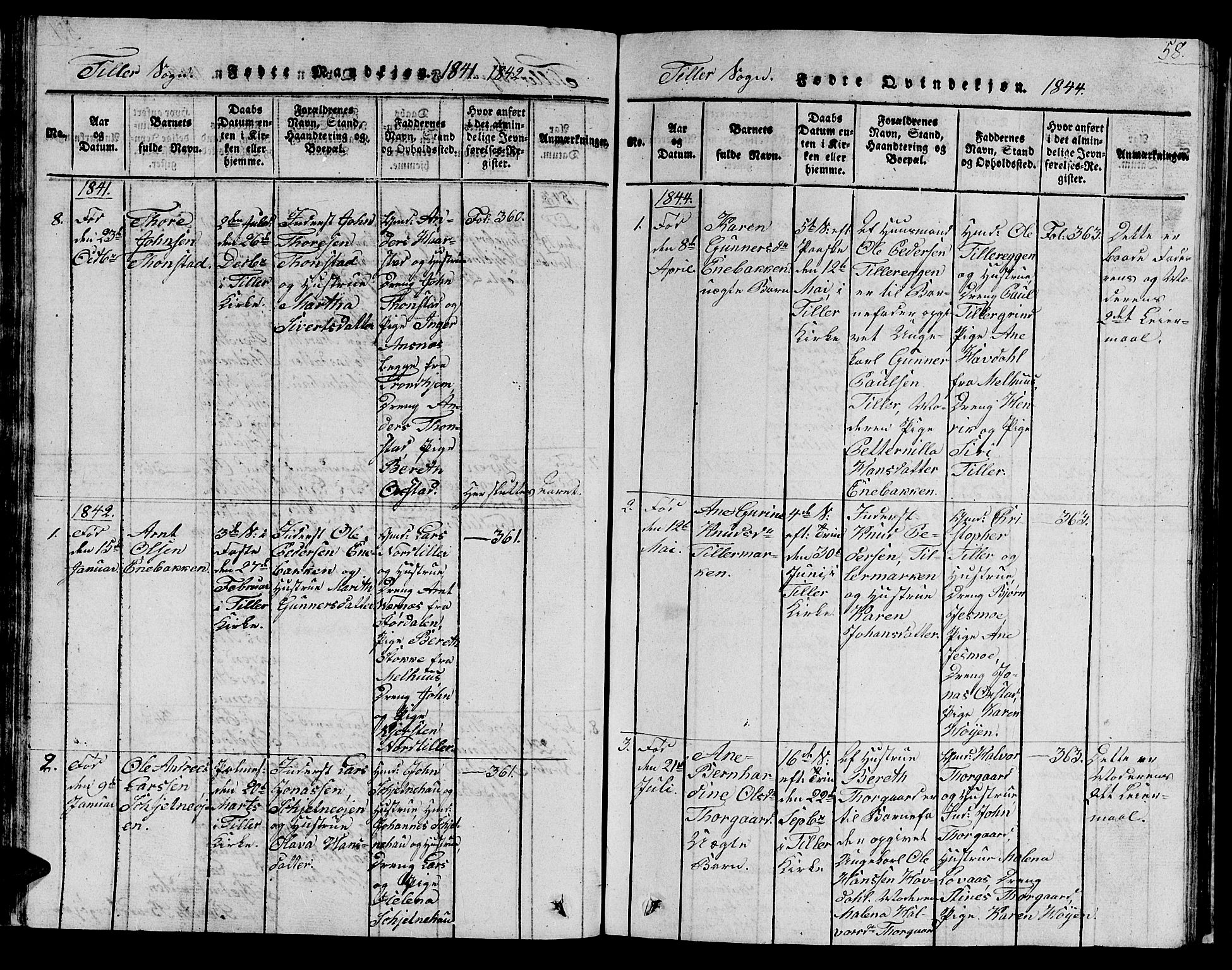 SAT, Ministerialprotokoller, klokkerbøker og fødselsregistre - Sør-Trøndelag, 621/L0458: Klokkerbok nr. 621C01, 1816-1865, s. 58