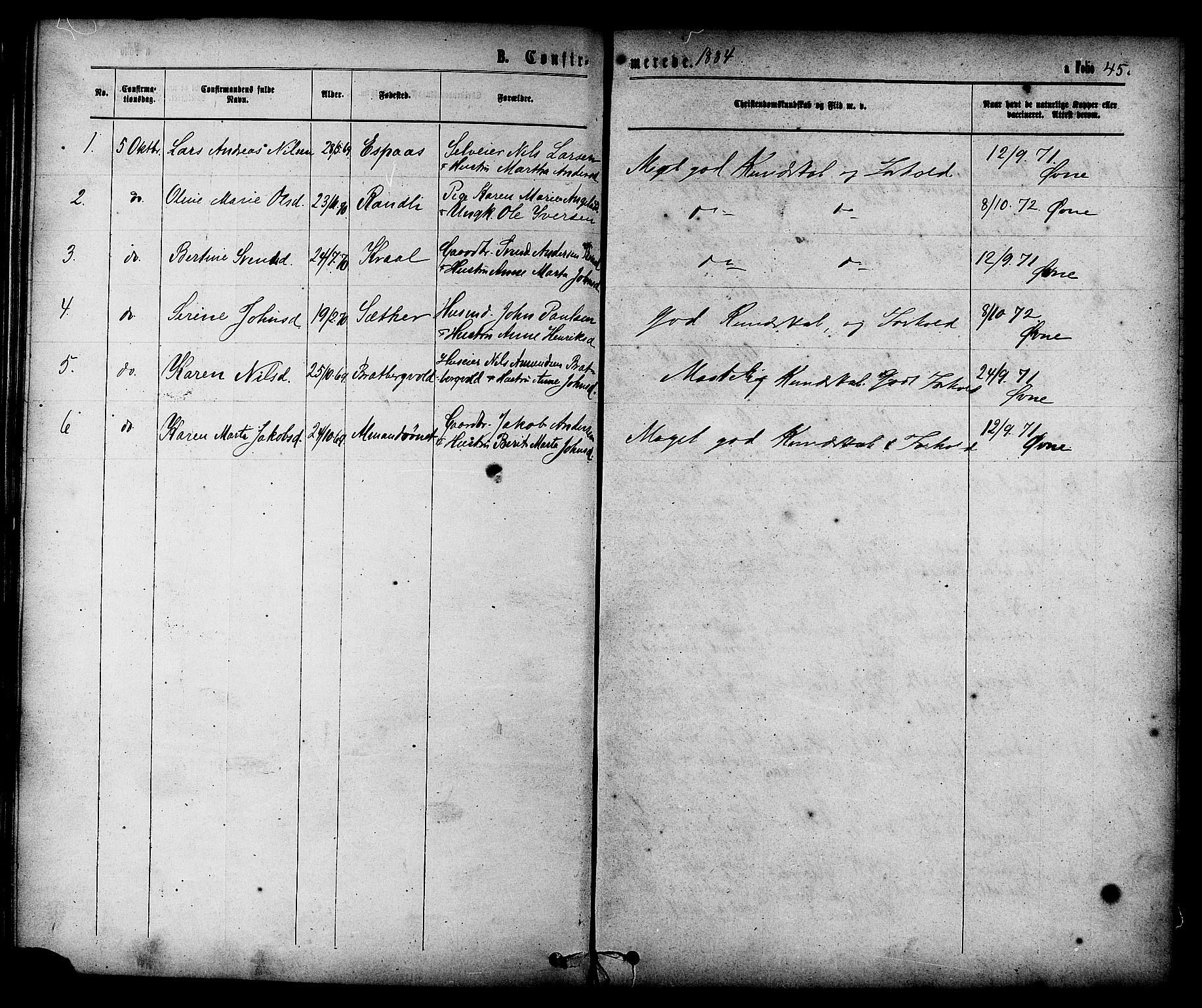 SAT, Ministerialprotokoller, klokkerbøker og fødselsregistre - Sør-Trøndelag, 608/L0334: Ministerialbok nr. 608A03, 1877-1886, s. 45