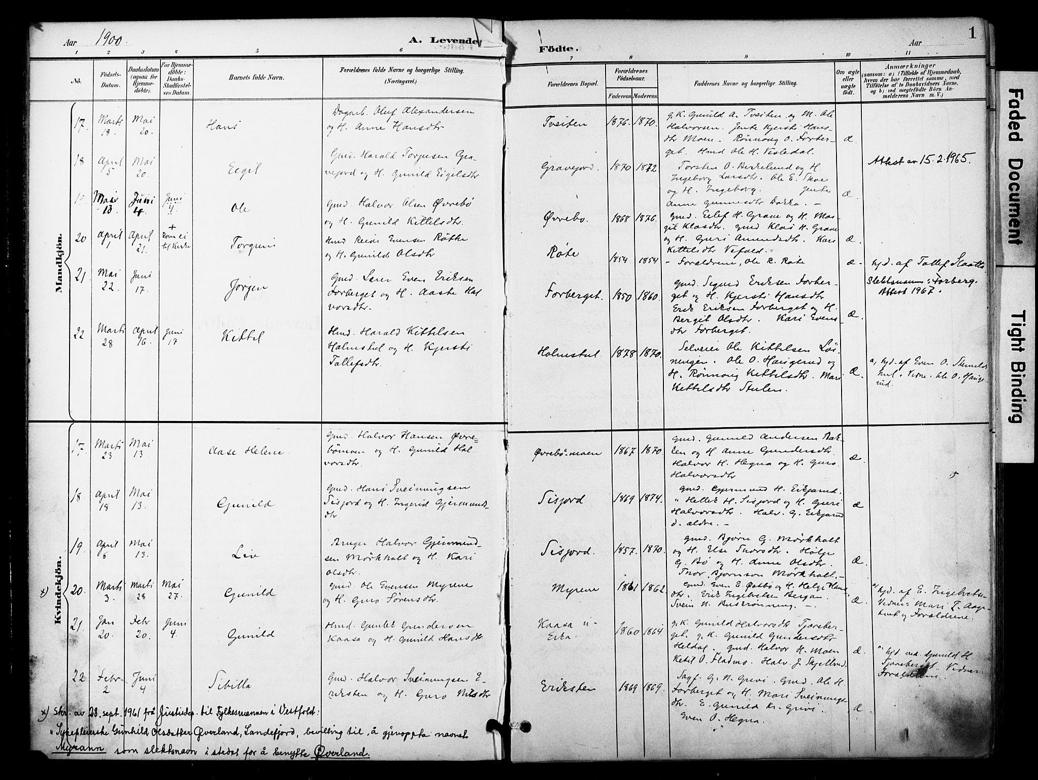 SAKO, Bø kirkebøker, F/Fa/L0012: Ministerialbok nr. 12, 1900-1908, s. 1