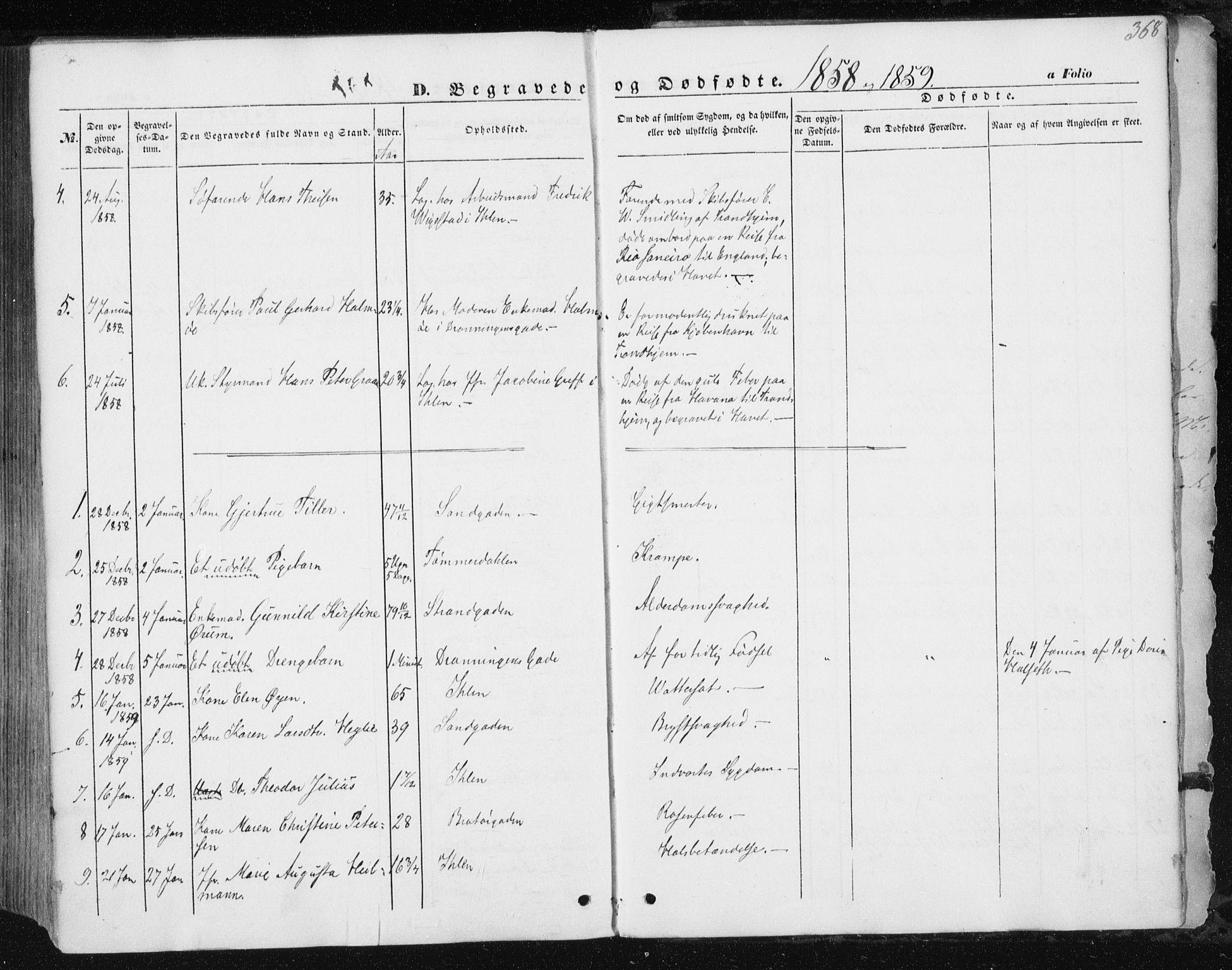 SAT, Ministerialprotokoller, klokkerbøker og fødselsregistre - Sør-Trøndelag, 602/L0112: Ministerialbok nr. 602A10, 1848-1859, s. 368