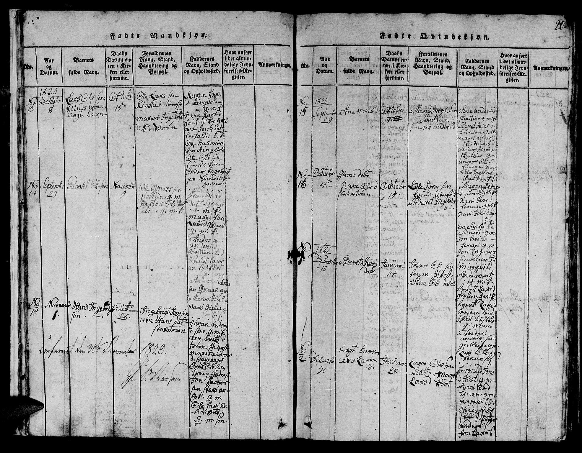 SAT, Ministerialprotokoller, klokkerbøker og fødselsregistre - Sør-Trøndelag, 613/L0393: Klokkerbok nr. 613C01, 1816-1886, s. 20