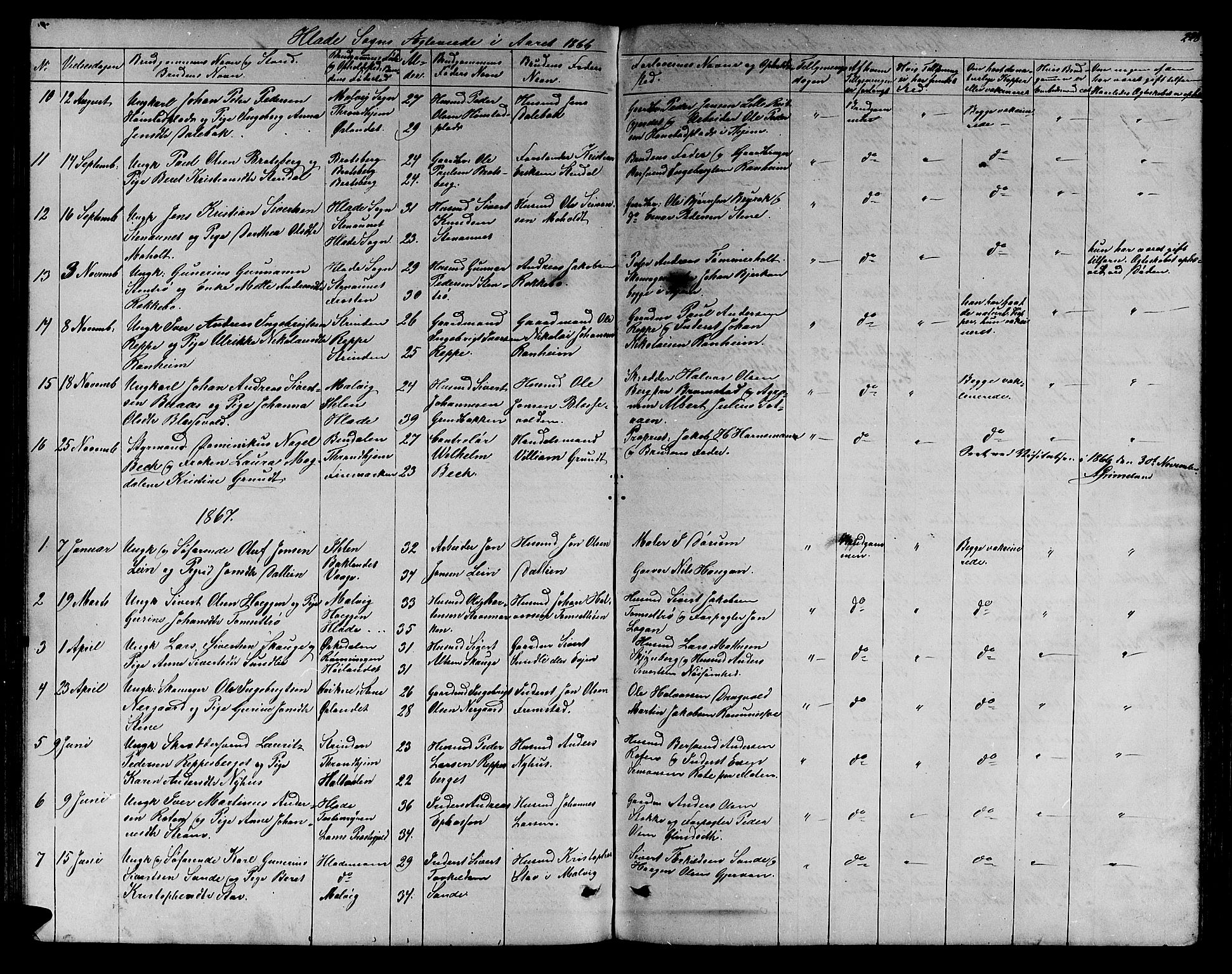 SAT, Ministerialprotokoller, klokkerbøker og fødselsregistre - Sør-Trøndelag, 606/L0311: Klokkerbok nr. 606C07, 1860-1877, s. 228