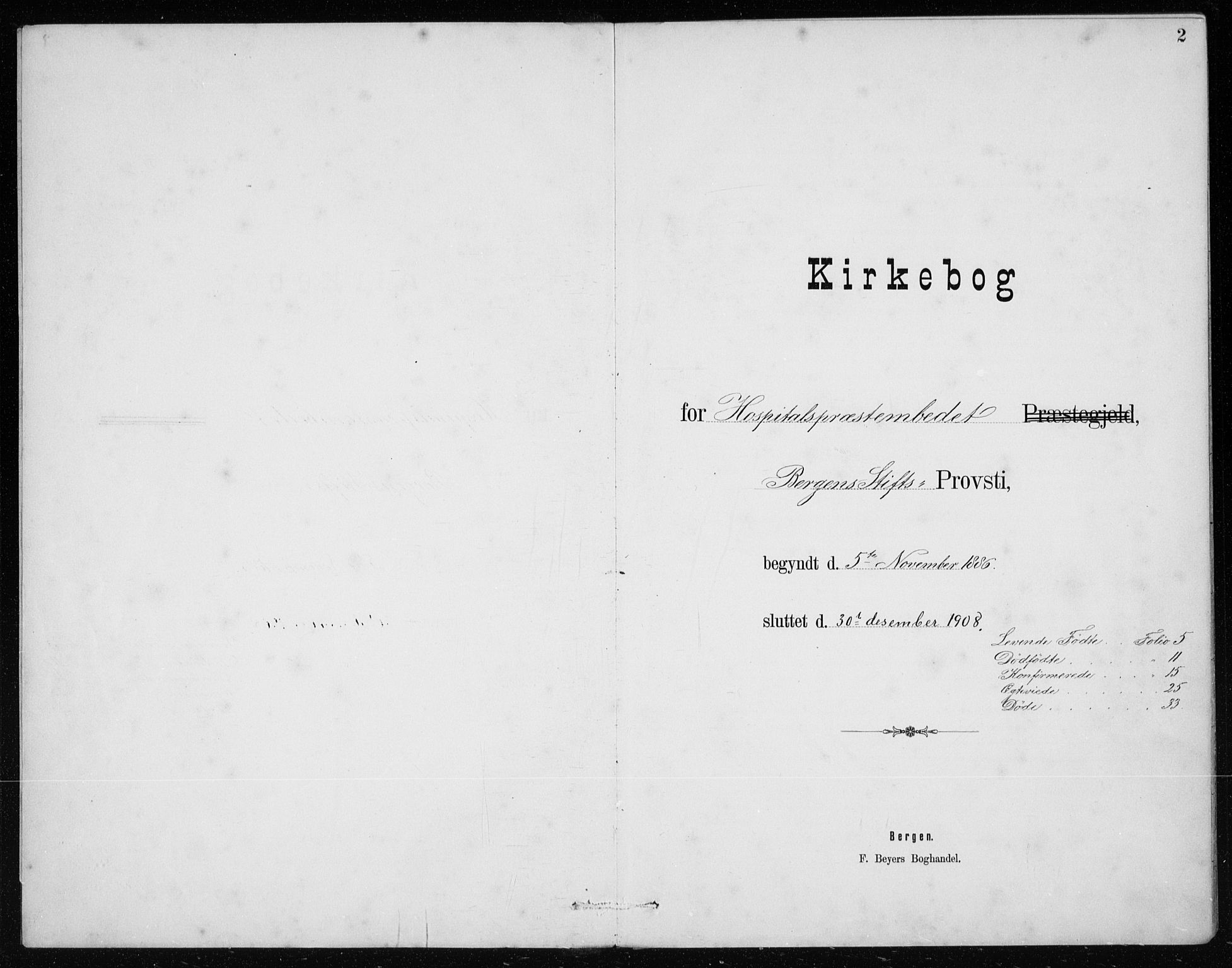 SAB, St. Jørgens hospital og Årstad sokneprestembete, Klokkerbok nr. A 10, 1886-1910, s. 2