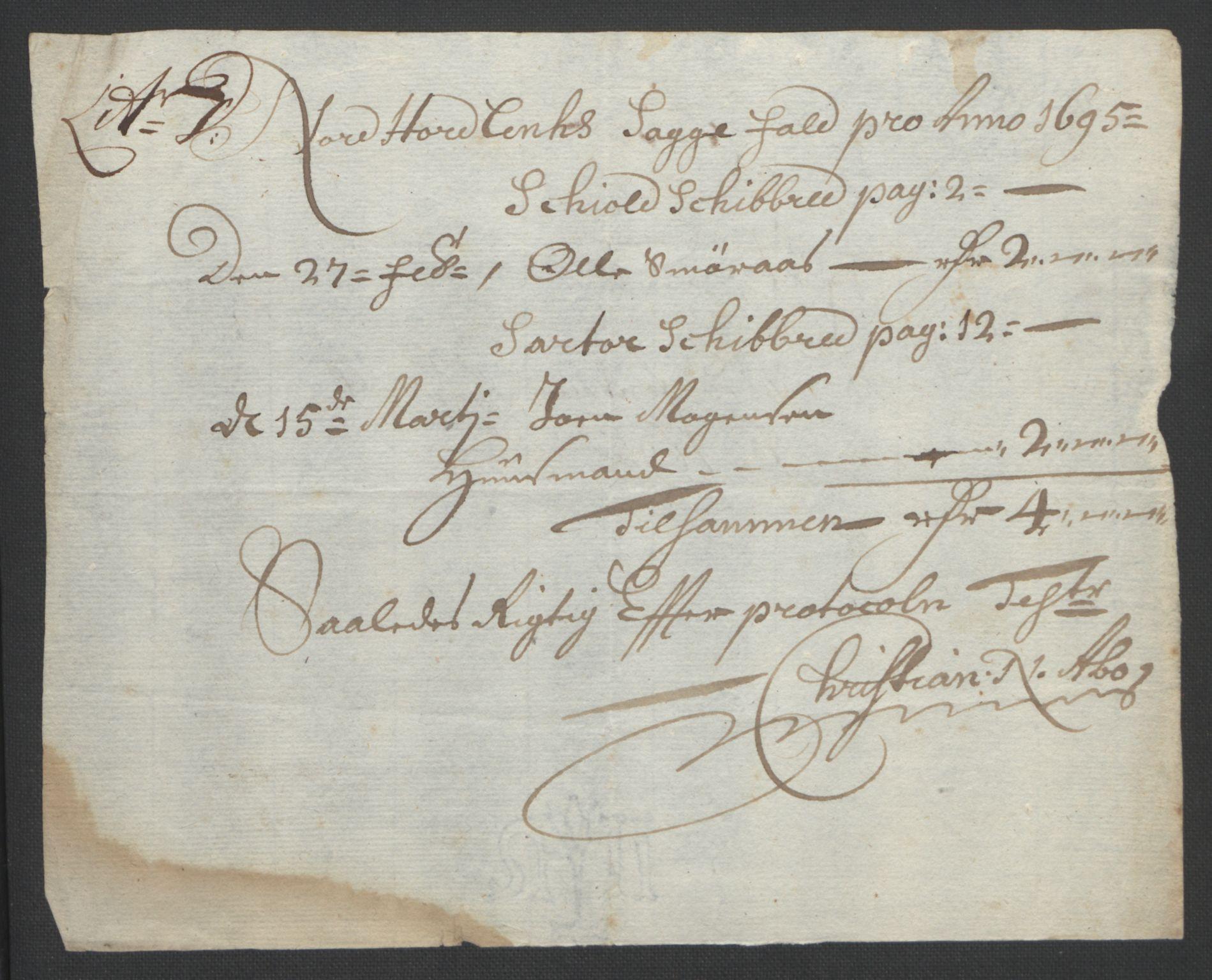 RA, Rentekammeret inntil 1814, Reviderte regnskaper, Fogderegnskap, R51/L3183: Fogderegnskap Nordhordland og Voss, 1695-1697, s. 112