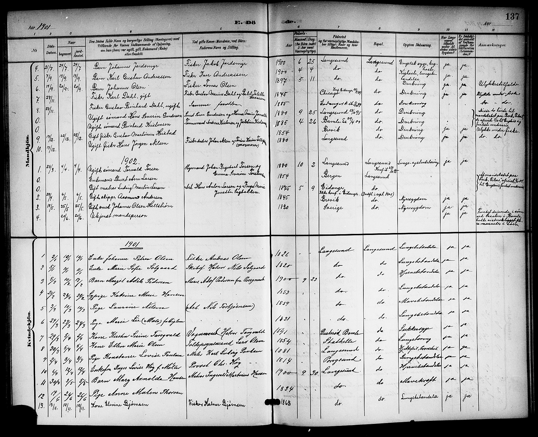 SAKO, Langesund kirkebøker, G/Ga/L0006: Klokkerbok nr. 6, 1899-1918, s. 137
