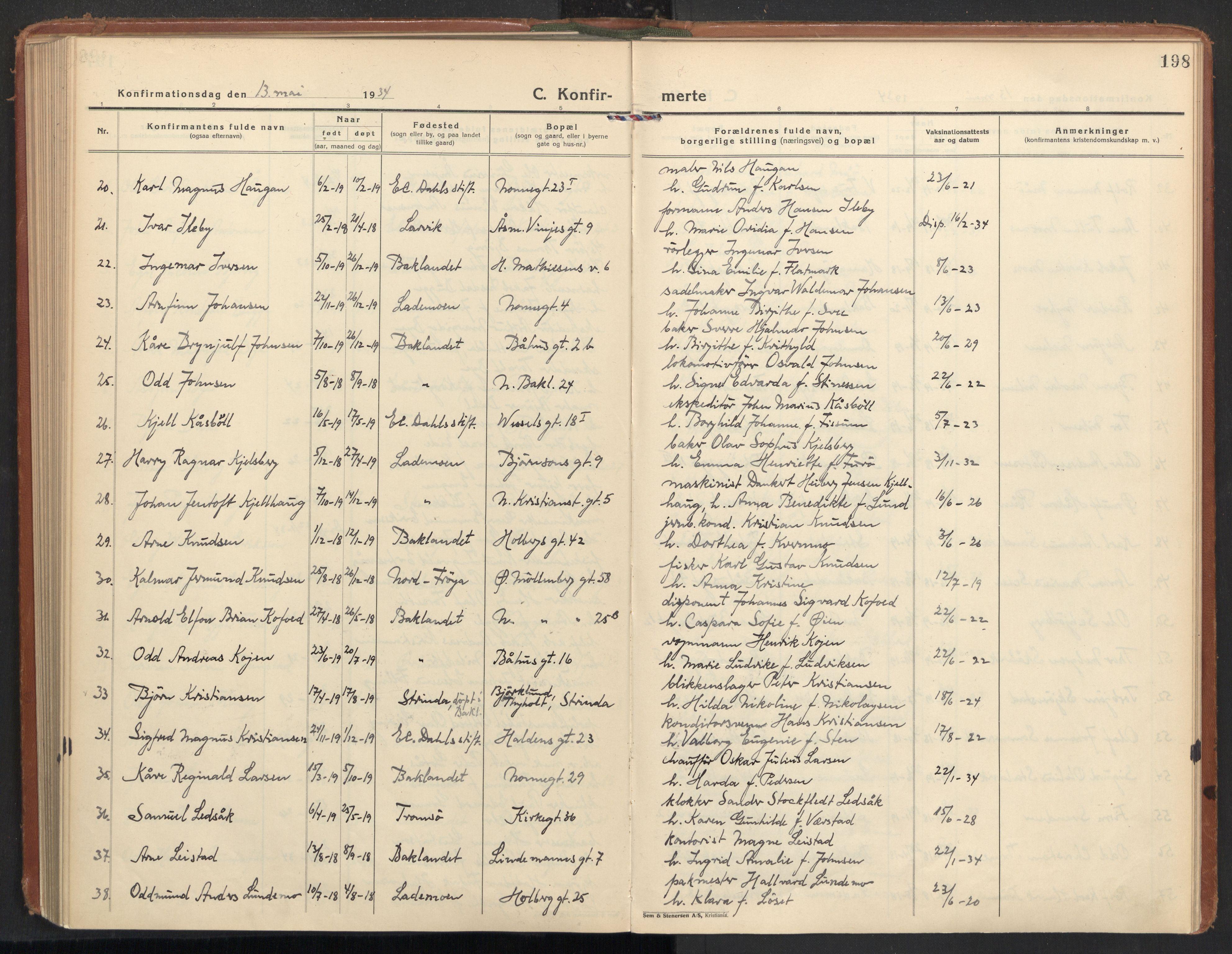 SAT, Ministerialprotokoller, klokkerbøker og fødselsregistre - Sør-Trøndelag, 604/L0208: Ministerialbok nr. 604A28, 1923-1937, s. 198
