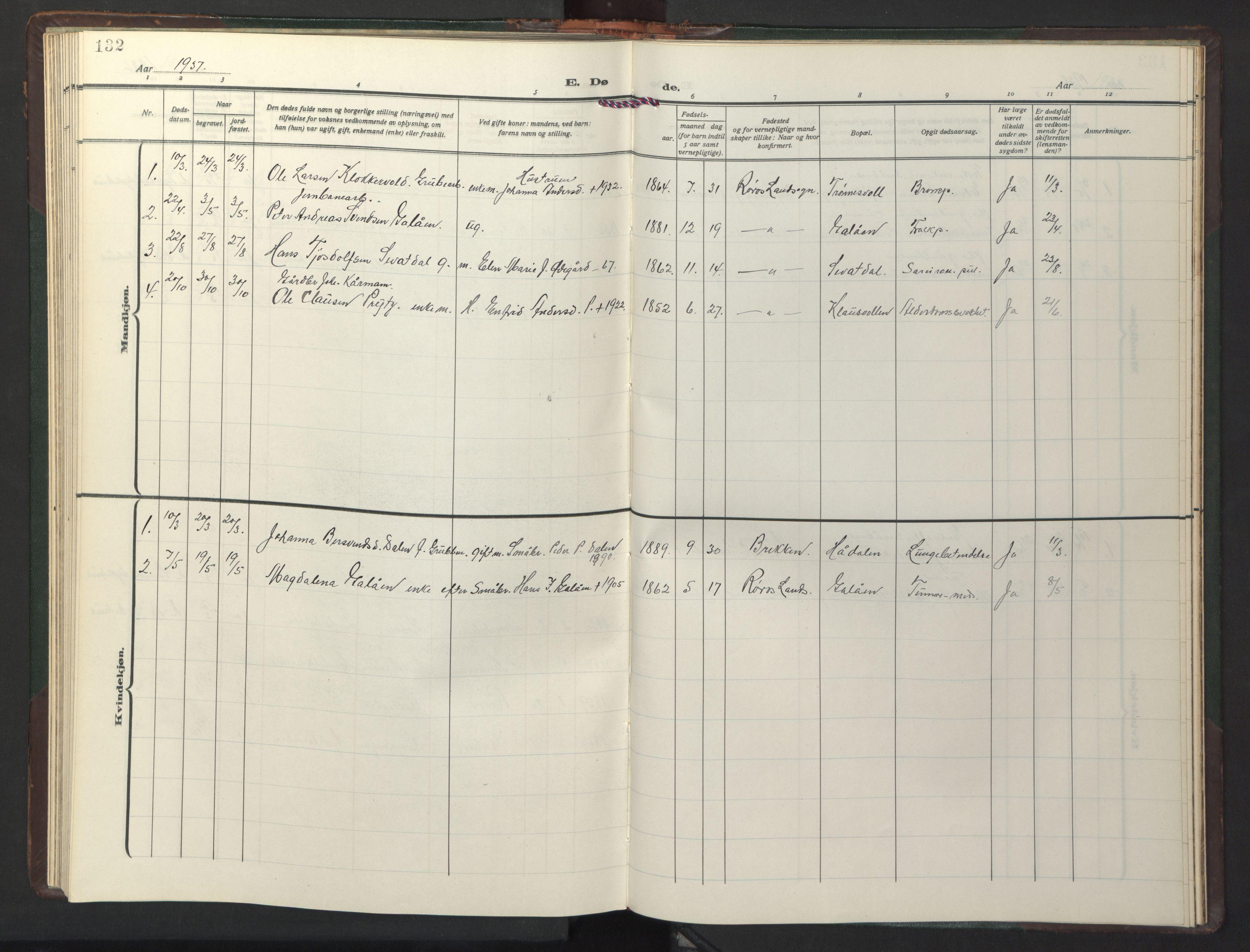 SAT, Ministerialprotokoller, klokkerbøker og fødselsregistre - Sør-Trøndelag, 681/L0944: Klokkerbok nr. 681C08, 1926-1954, s. 132