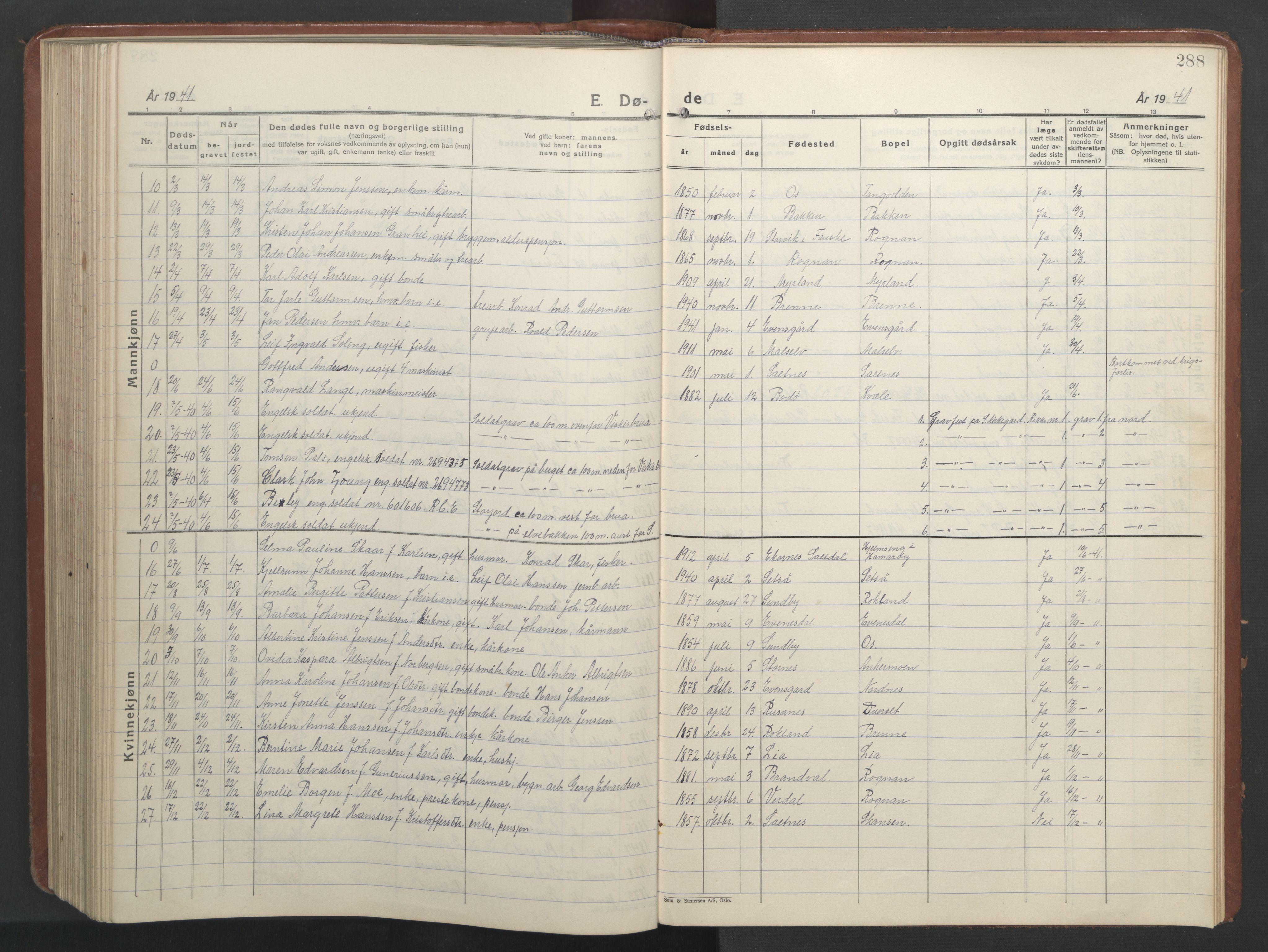 SAT, Ministerialprotokoller, klokkerbøker og fødselsregistre - Nordland, 847/L0680: Klokkerbok nr. 847C08, 1930-1947, s. 288