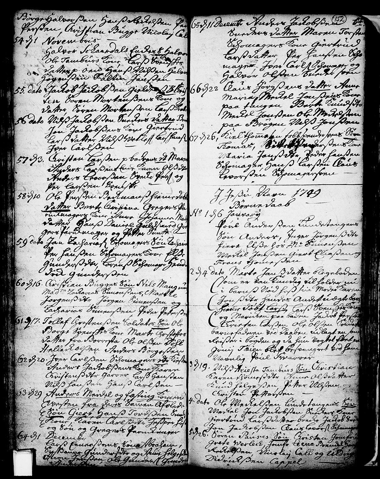 SAKO, Skien kirkebøker, F/Fa/L0002: Ministerialbok nr. 2, 1716-1757, s. 152