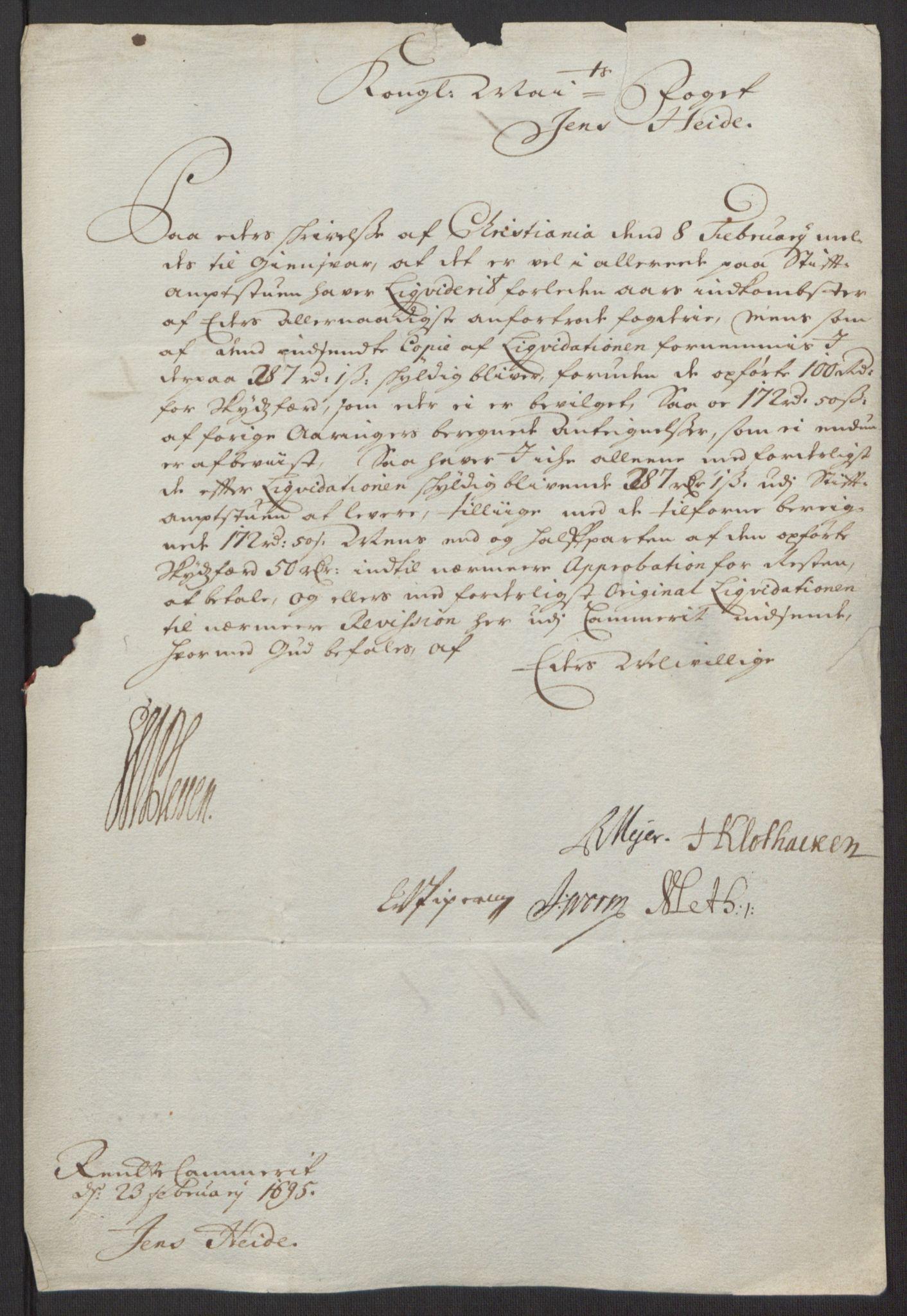 RA, Rentekammeret inntil 1814, Reviderte regnskaper, Fogderegnskap, R13/L0833: Fogderegnskap Solør, Odal og Østerdal, 1695, s. 27