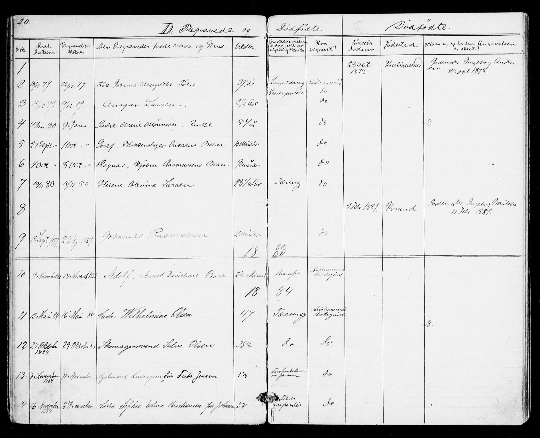 SAK, Den evangelisk-lutherske frikirke, Kristiansand, F/Fa/L0001: Dissenterprotokoll nr. F 9, 1877-1888, s. 20