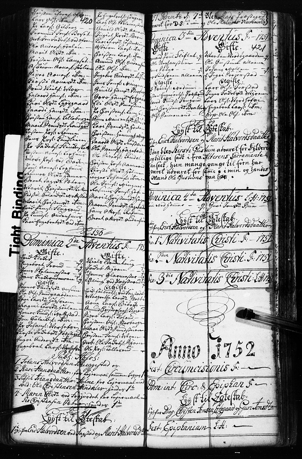 SAH, Fåberg prestekontor, Klokkerbok nr. 2, 1741-1756, s. 420-421