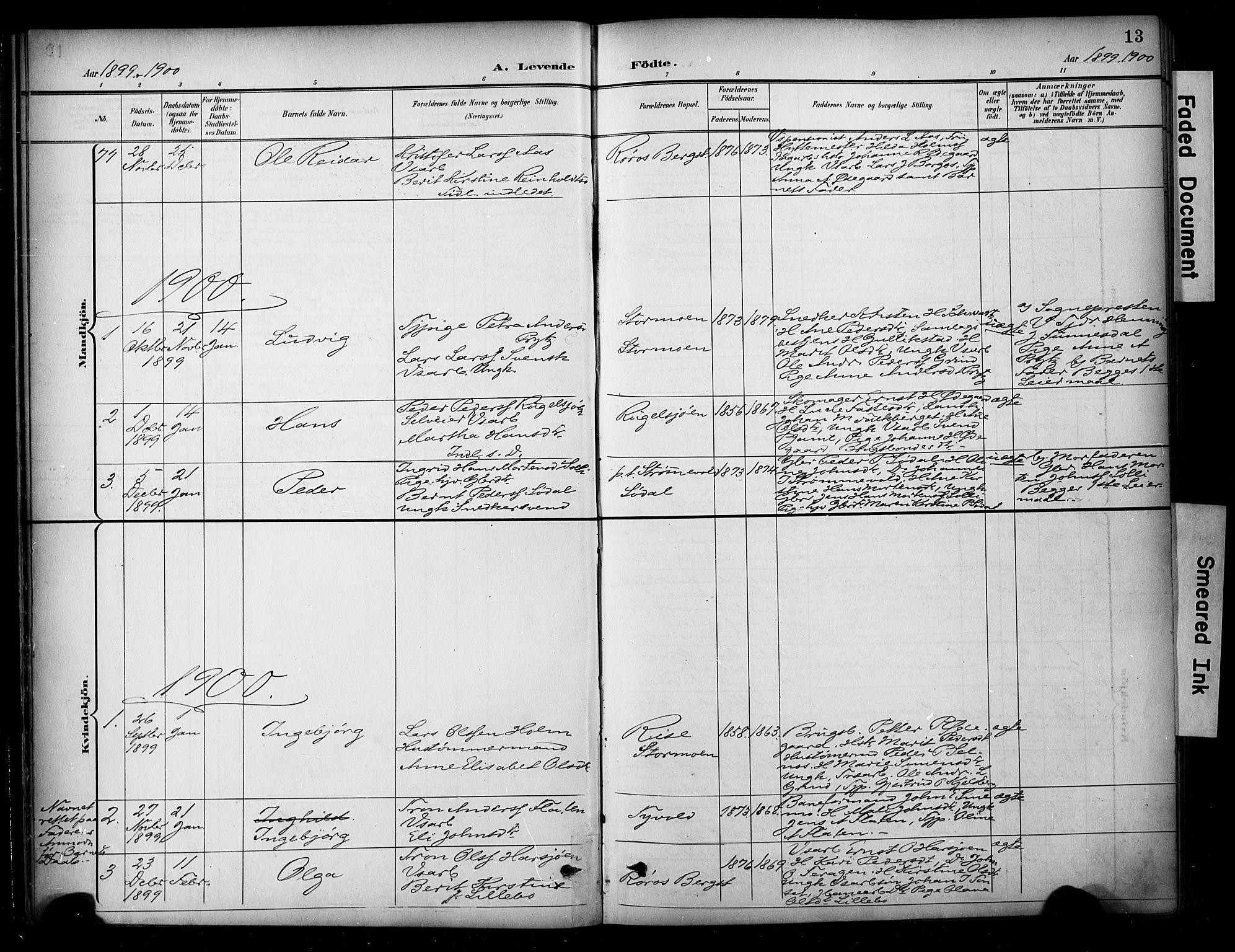 SAT, Ministerialprotokoller, klokkerbøker og fødselsregistre - Sør-Trøndelag, 681/L0936: Ministerialbok nr. 681A14, 1899-1908, s. 13