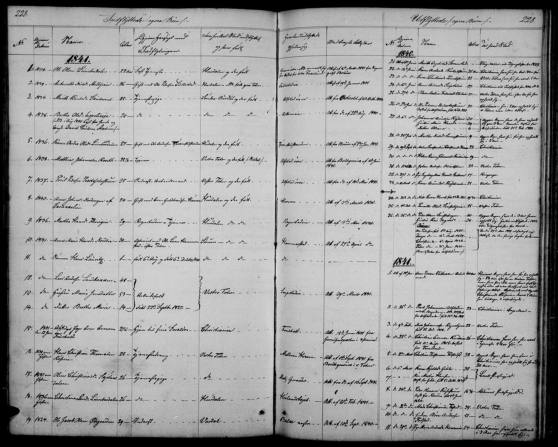SAH, Østre Toten prestekontor, Klokkerbok nr. 2, 1840-1847, s. 228