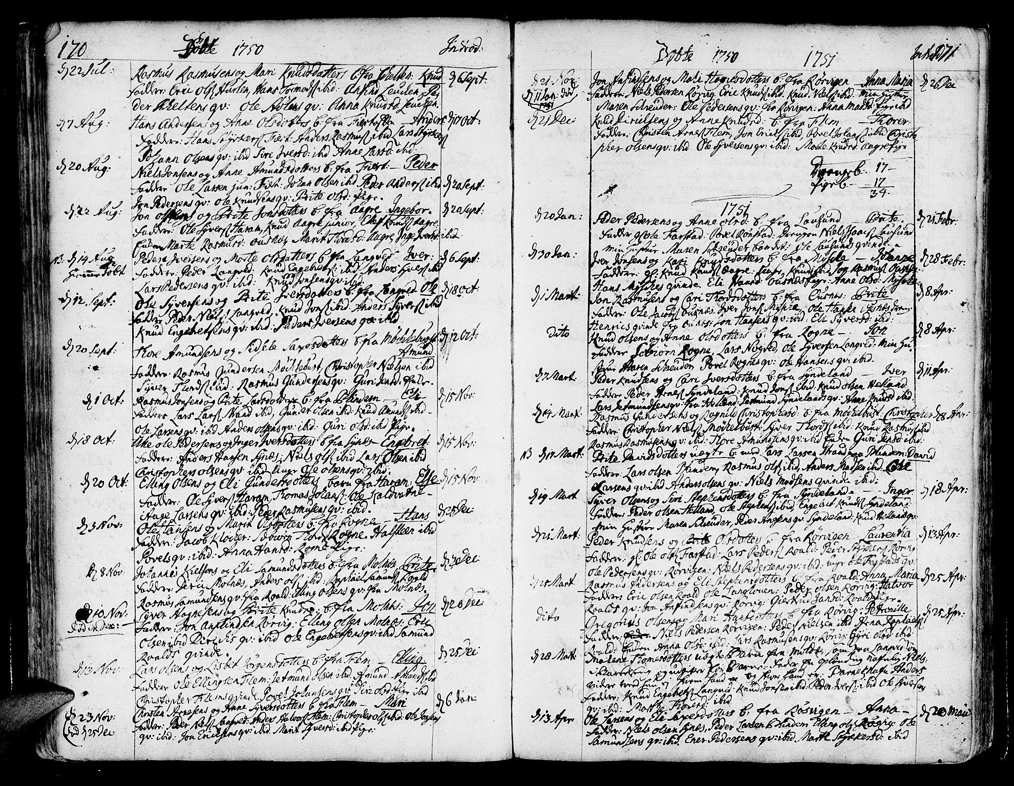 SAT, Ministerialprotokoller, klokkerbøker og fødselsregistre - Møre og Romsdal, 536/L0493: Ministerialbok nr. 536A02, 1739-1802, s. 170-171