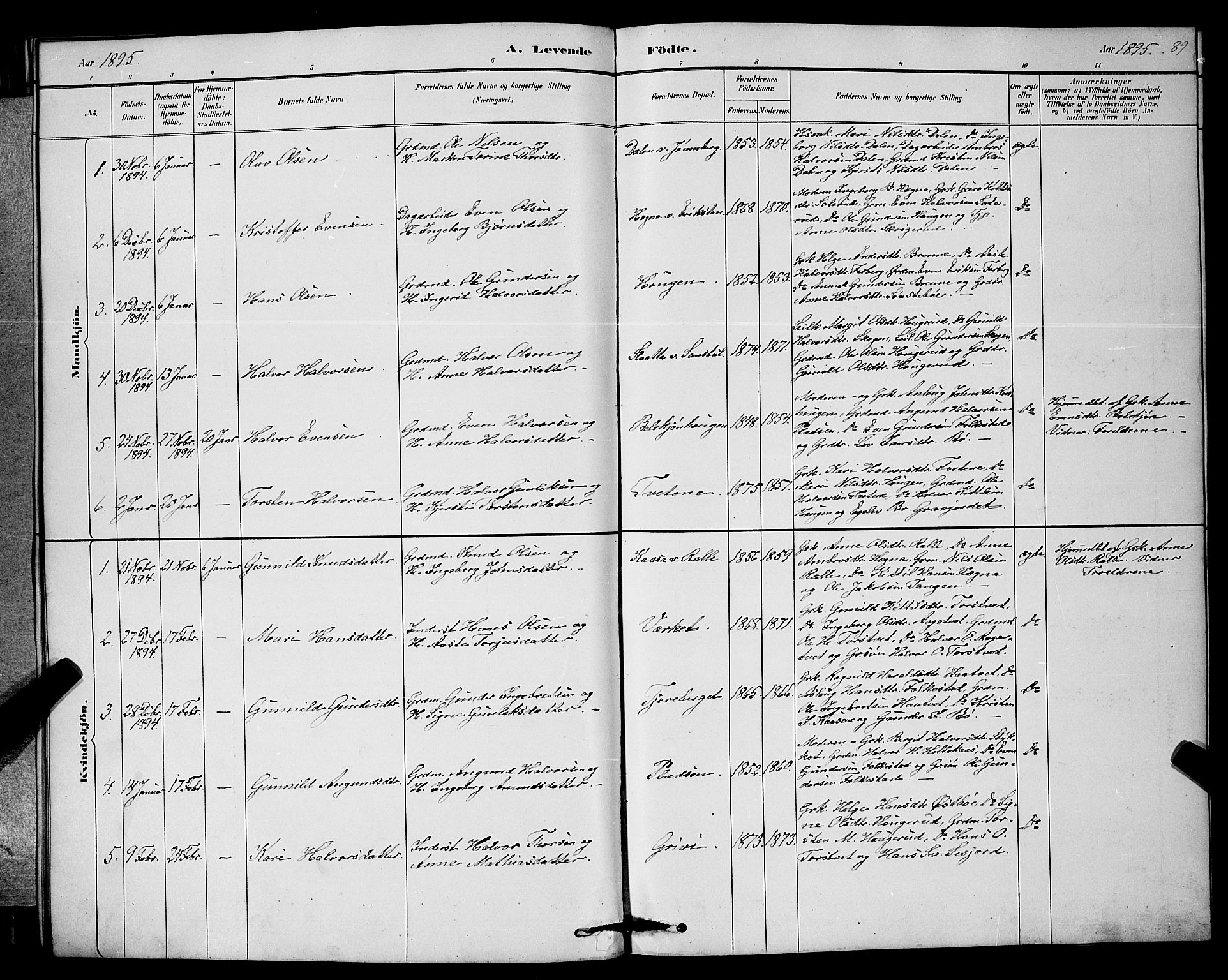 SAKO, Bø kirkebøker, G/Ga/L0005: Klokkerbok nr. 5, 1883-1897, s. 89
