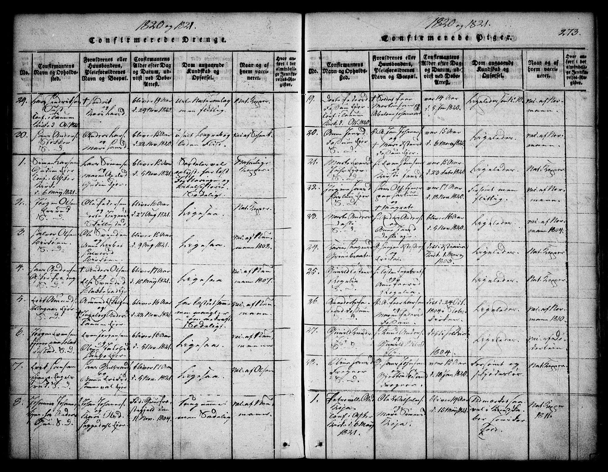 SAO, Asker prestekontor Kirkebøker, F/Fa/L0006: Ministerialbok nr. I 6, 1814-1824, s. 273
