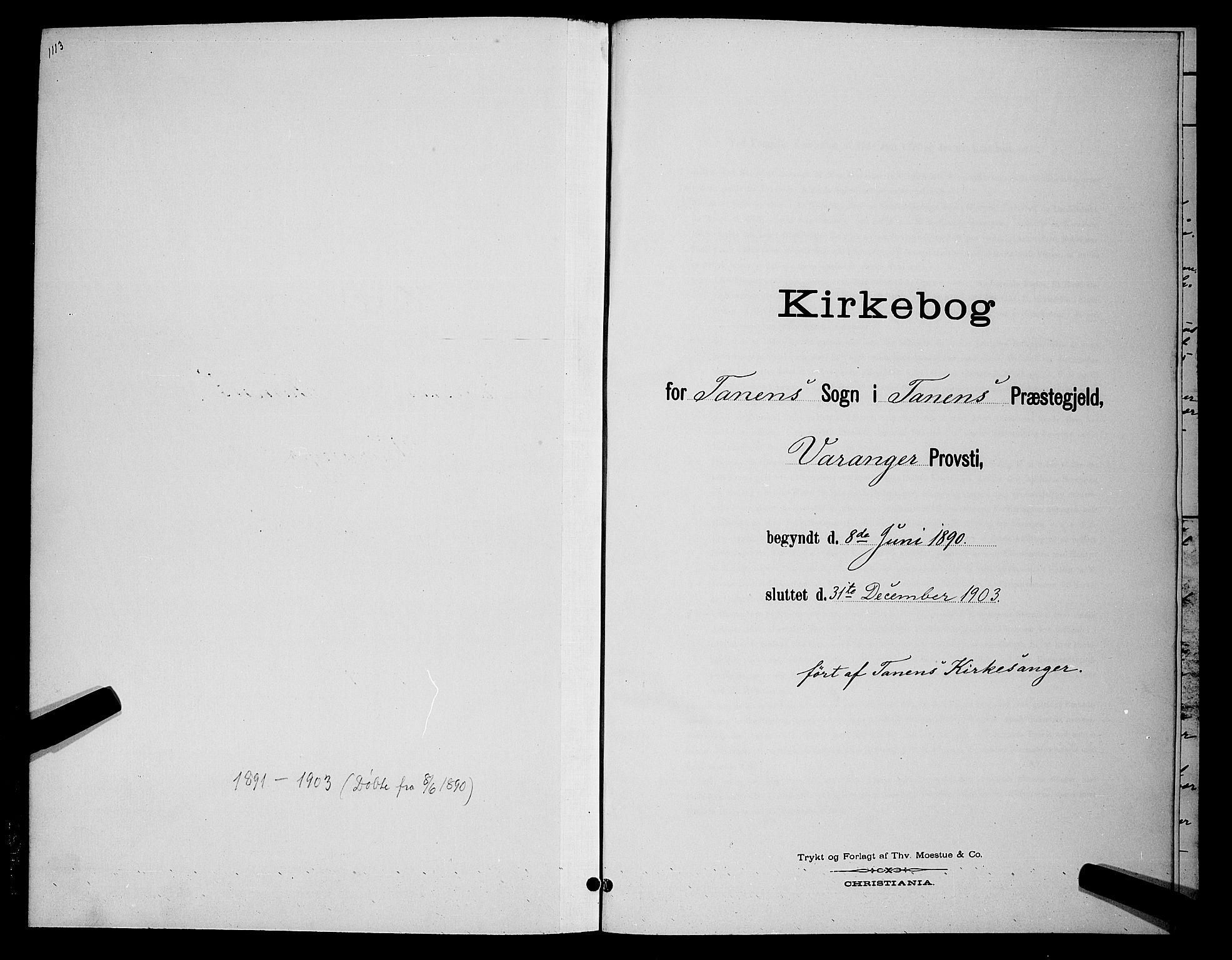 SATØ, Tana sokneprestkontor, H/Hb/L0004klokker: Klokkerbok nr. 4, 1890-1903