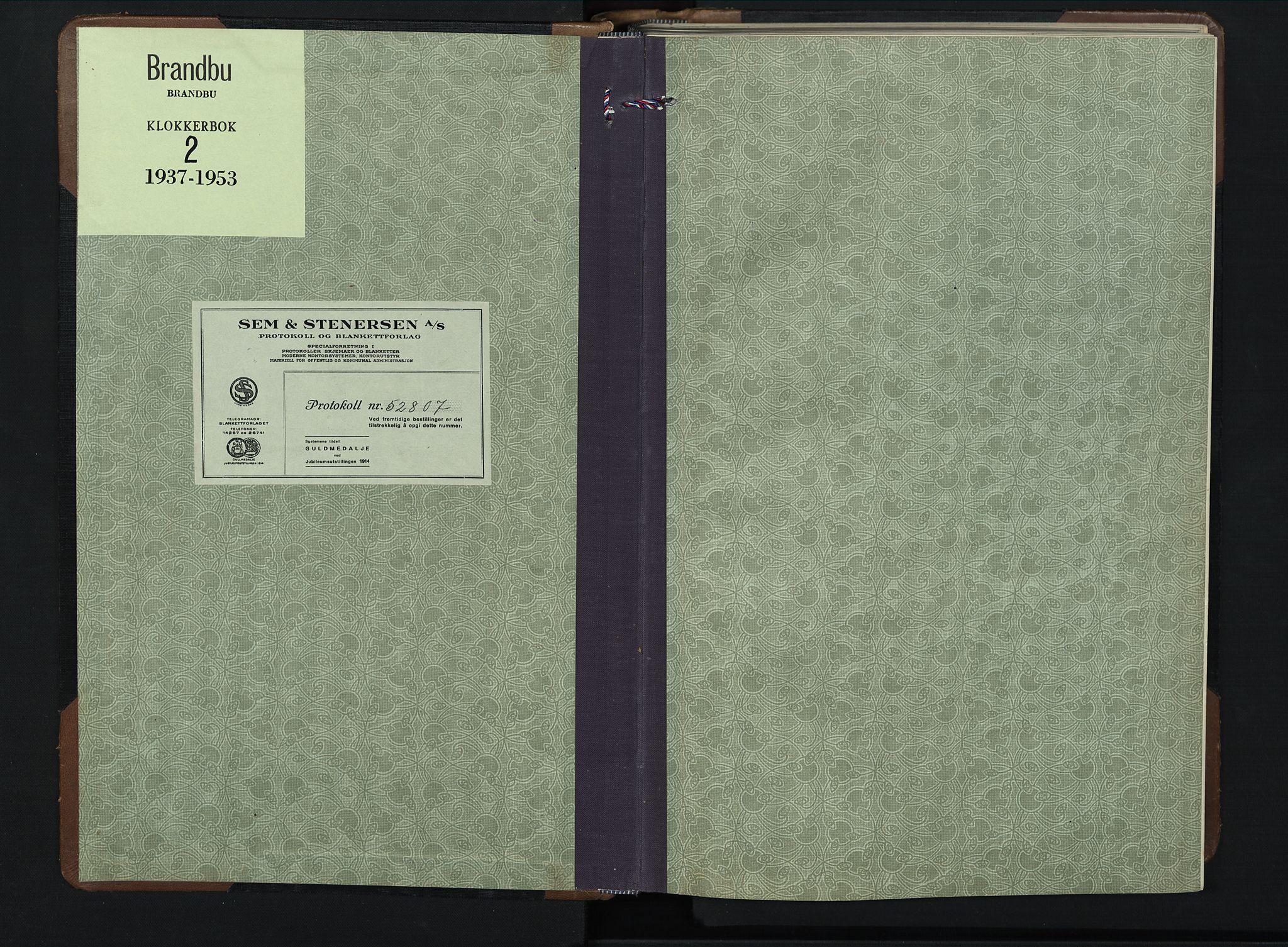 SAH, Brandbu prestekontor, Klokkerbok nr. 2, 1937-1953