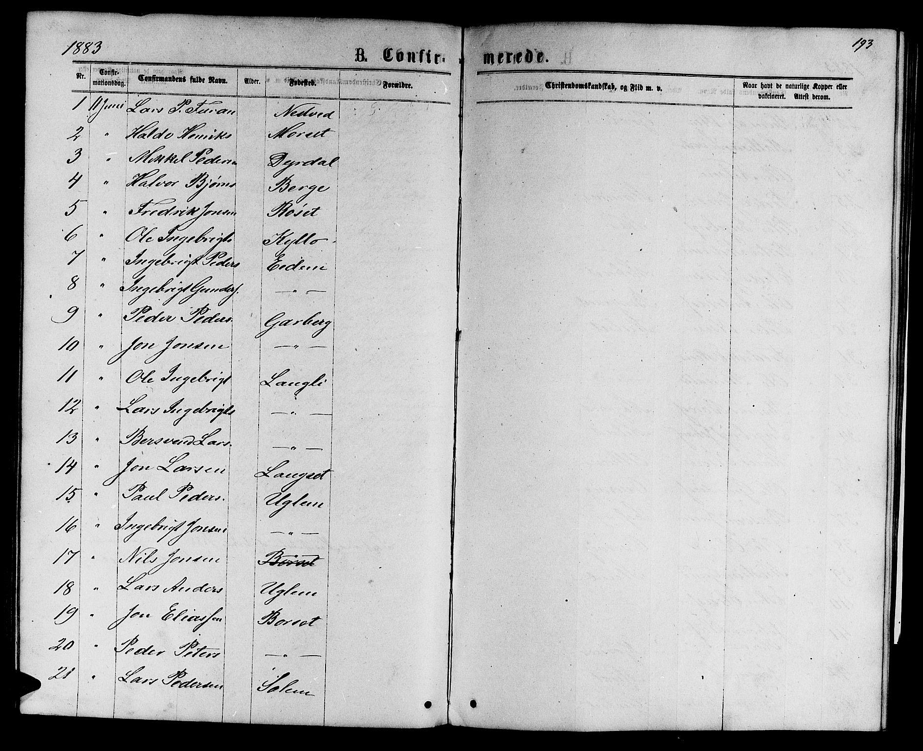 SAT, Ministerialprotokoller, klokkerbøker og fødselsregistre - Sør-Trøndelag, 695/L1156: Klokkerbok nr. 695C07, 1869-1888, s. 193