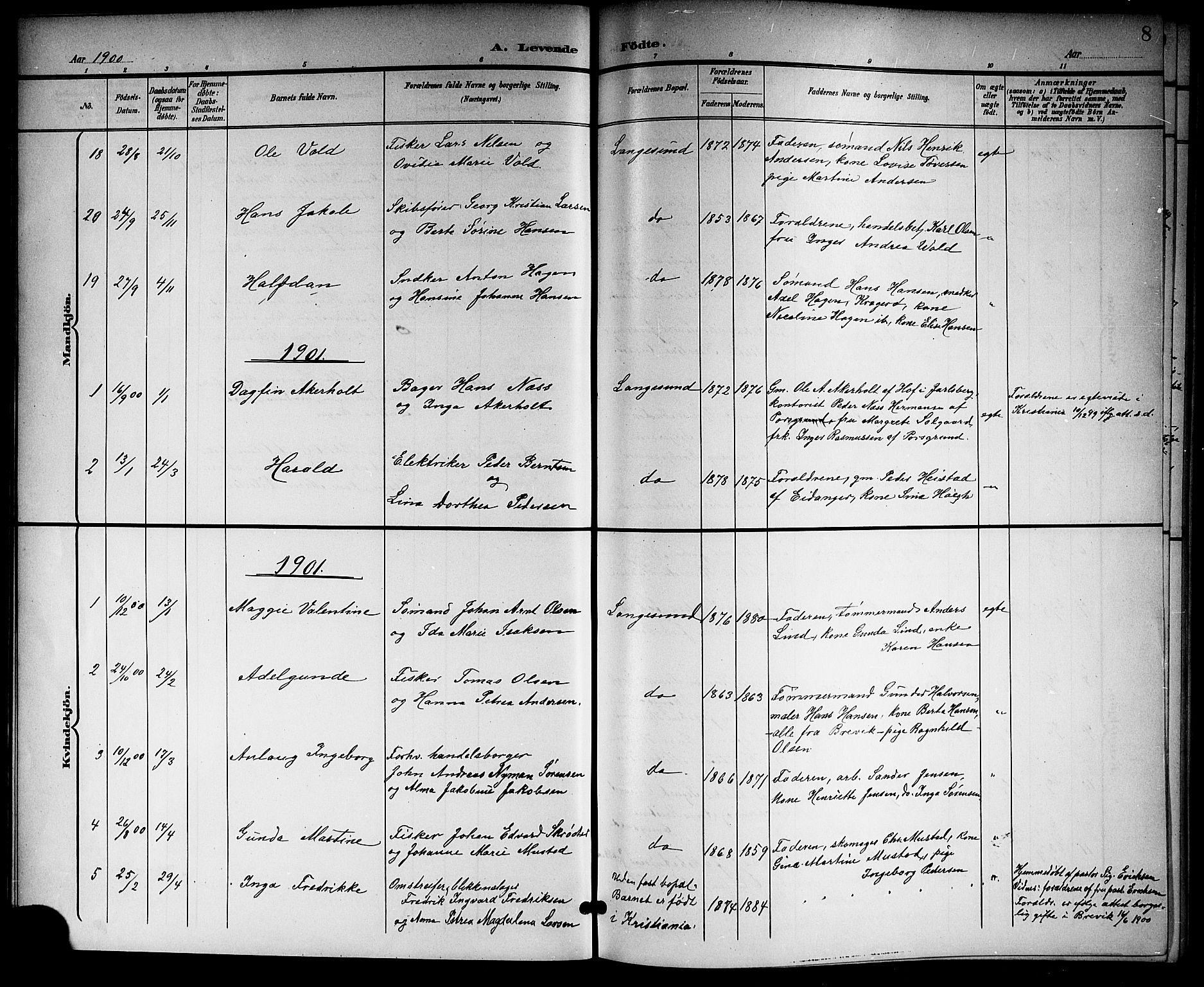 SAKO, Langesund kirkebøker, G/Ga/L0006: Klokkerbok nr. 6, 1899-1918, s. 8