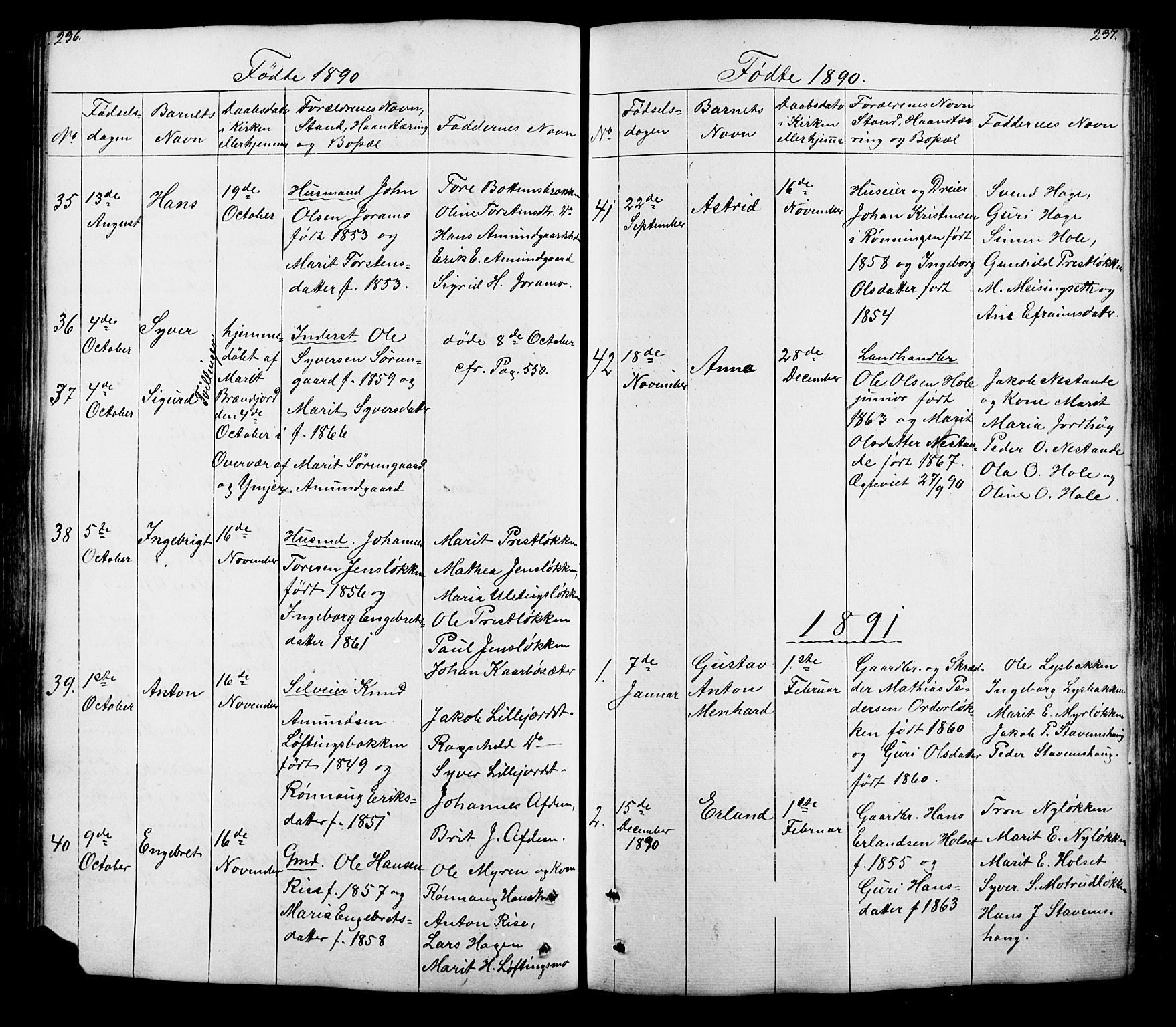 SAH, Lesja prestekontor, Klokkerbok nr. 5, 1850-1894, s. 236-237