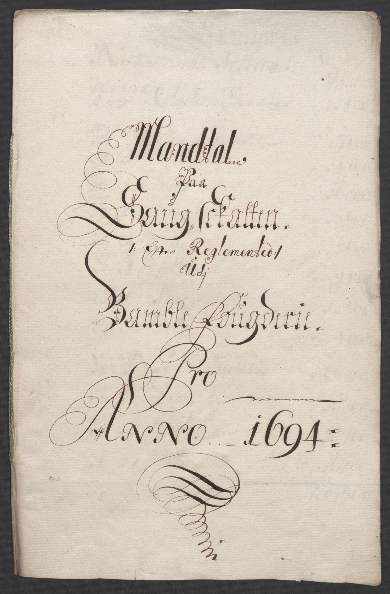 RA, Rentekammeret inntil 1814, Reviderte regnskaper, Fogderegnskap, R36/L2092: Fogderegnskap Øvre og Nedre Telemark og Bamble, 1694, s. 200