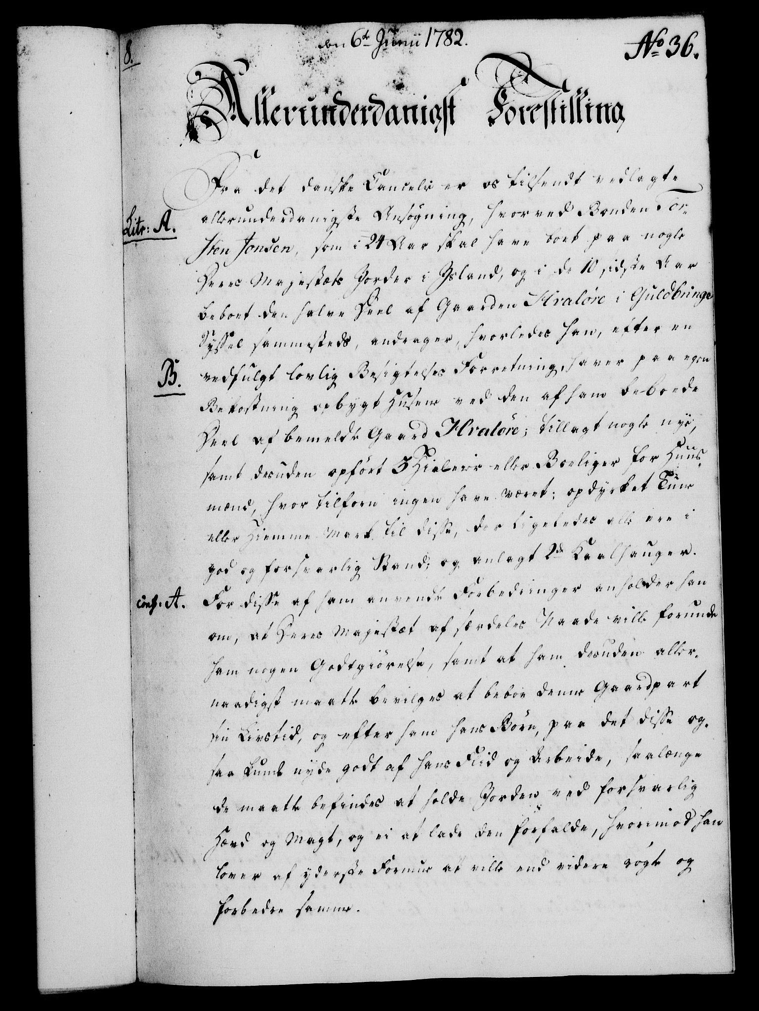 RA, Rentekammeret, Kammerkanselliet, G/Gf/Gfa/L0064: Norsk relasjons- og resolusjonsprotokoll (merket RK 52.64), 1782, s. 284